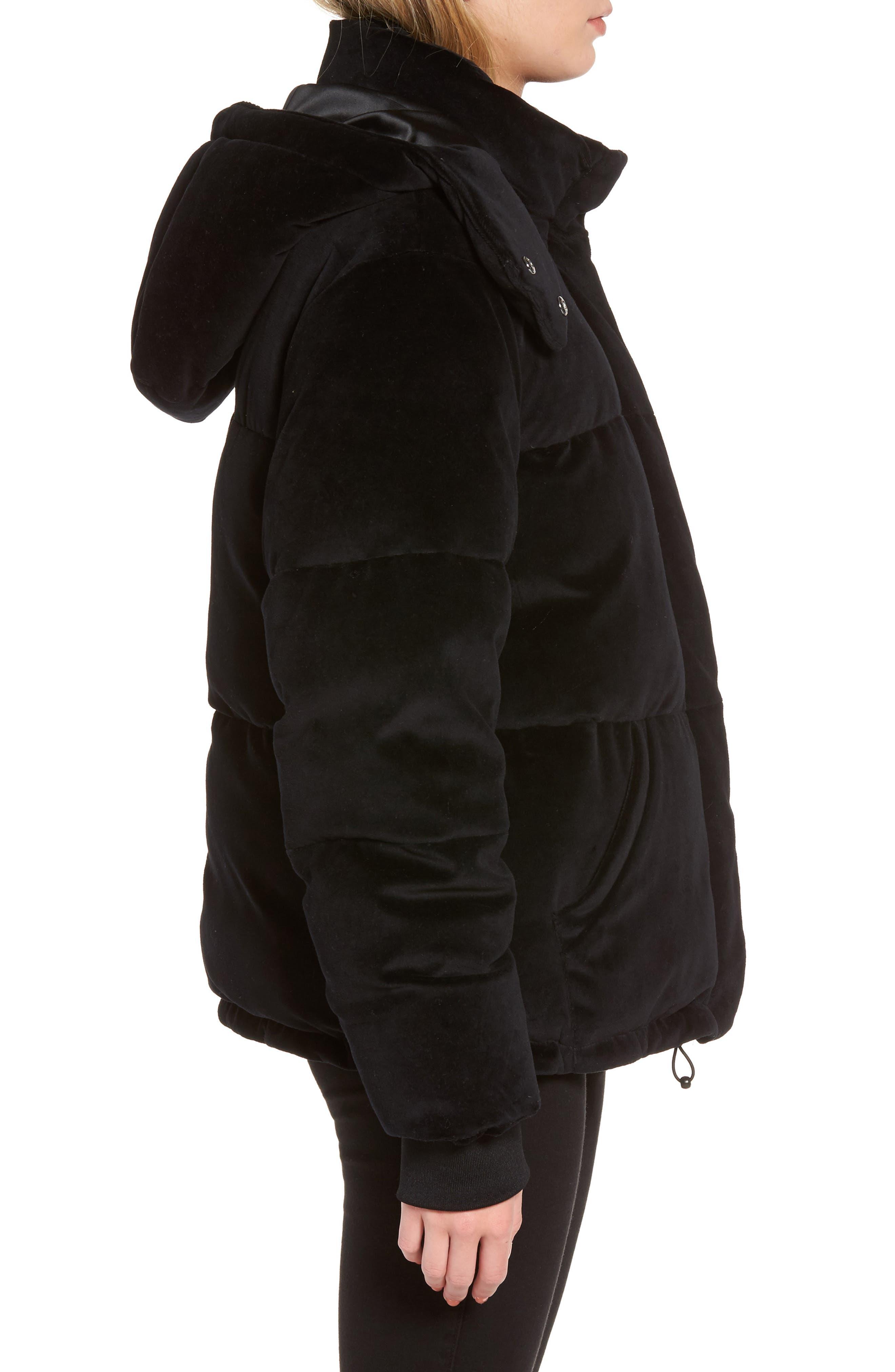 Velour Puffer Jacket,                             Alternate thumbnail 3, color,                             001