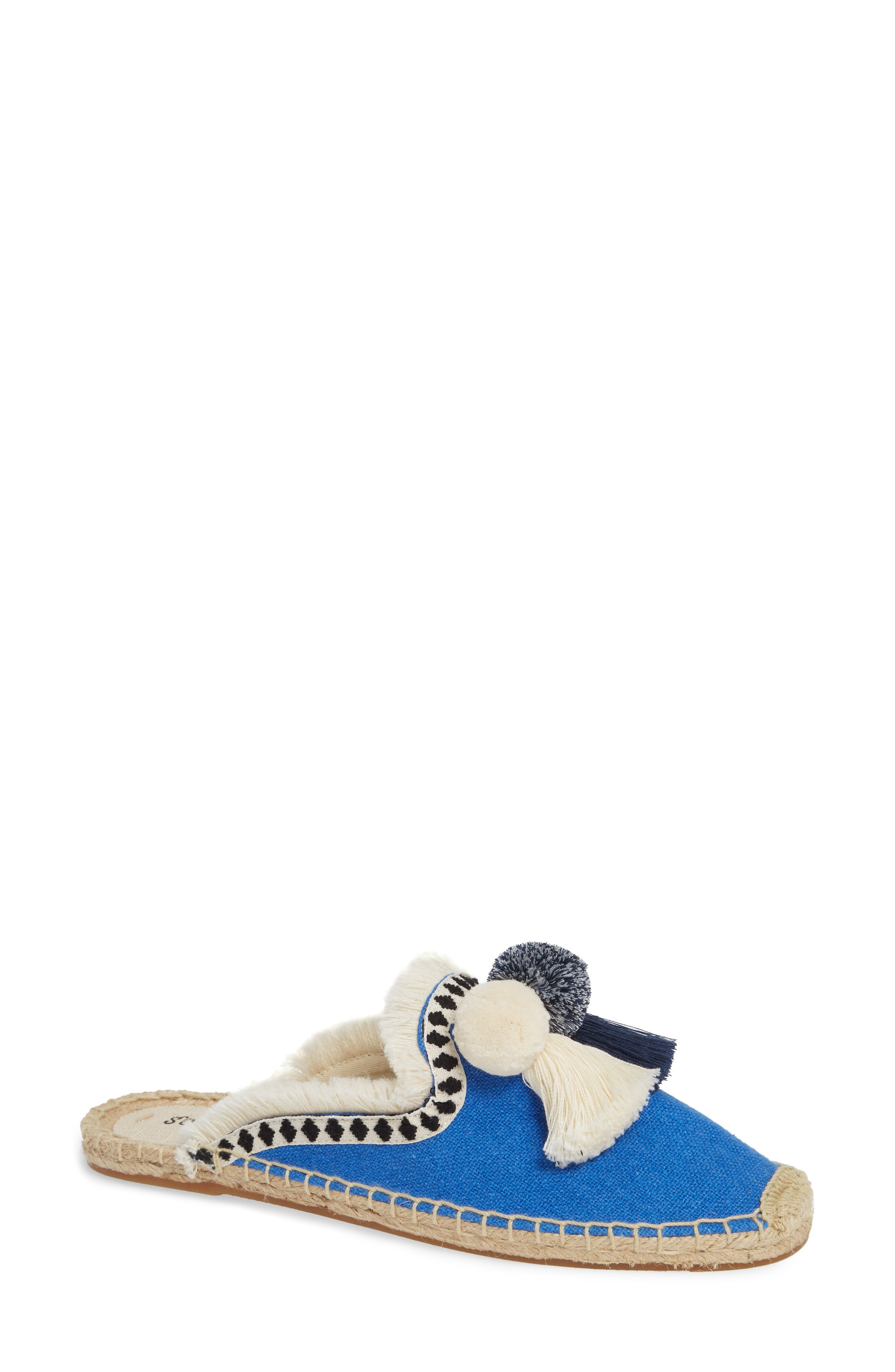 Pompom Espadrille Mule,                             Main thumbnail 1, color,                             MARLIN BLUE FABRIC