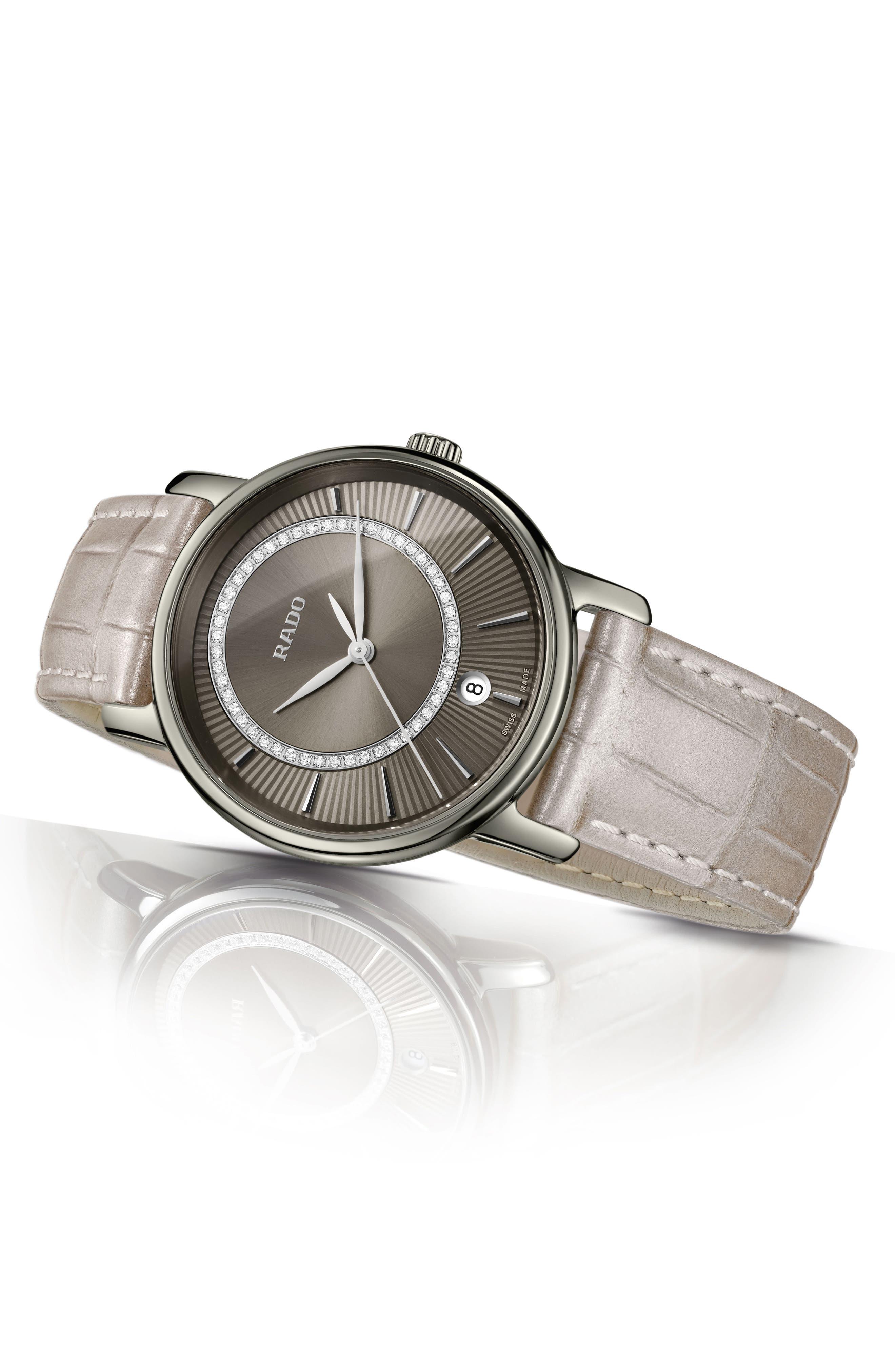 DiaMaster Diamond Leather Strap Watch, 33mm,                             Alternate thumbnail 4, color,                             GREY/ TITANIUM