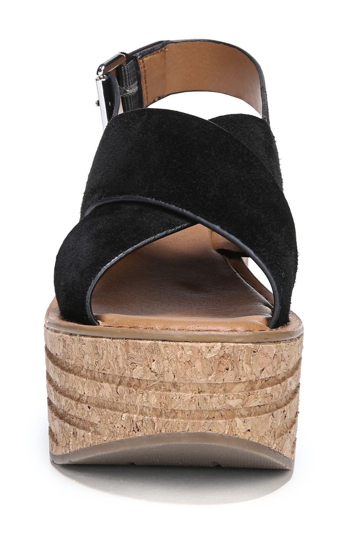 Caroline Platform Wedge Sandal,                             Alternate thumbnail 4, color,                             001
