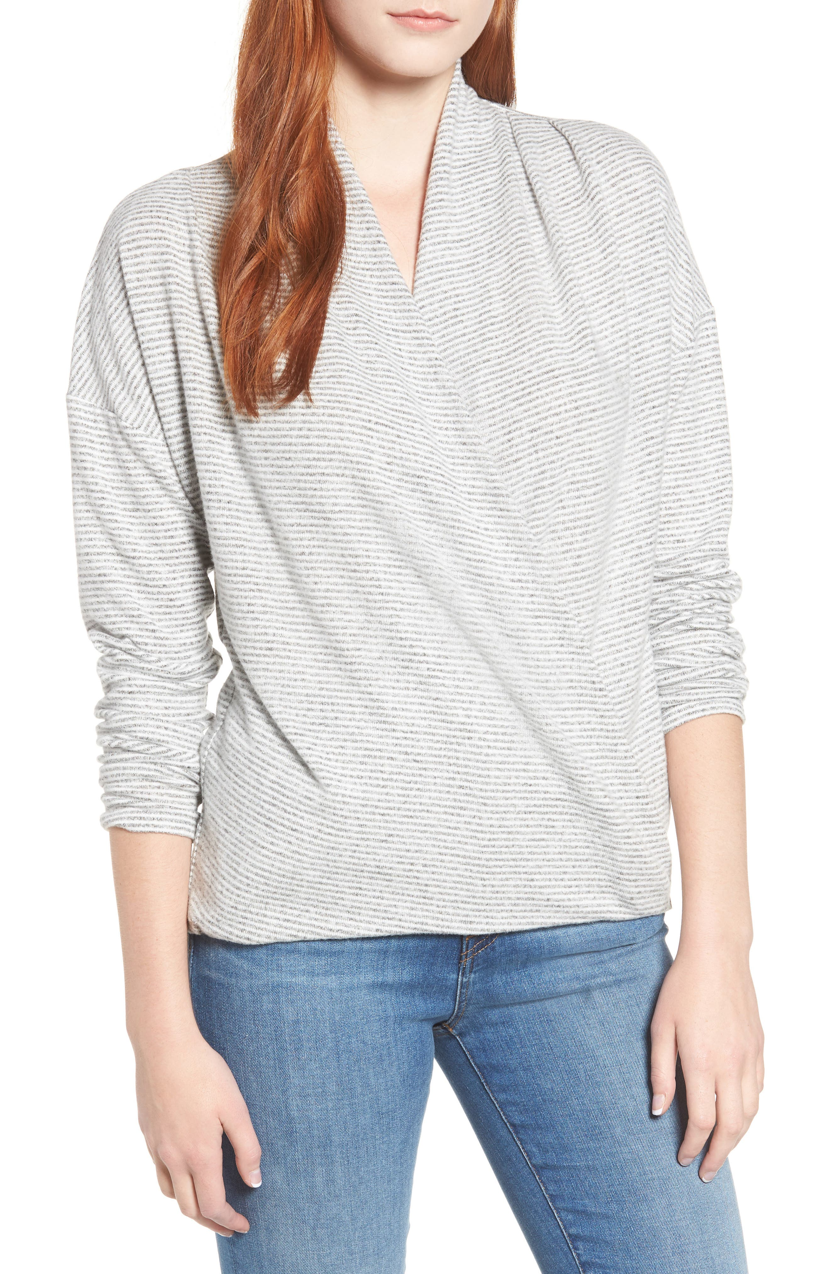 GIBSON x Living in Yellow Diana Cozy Knit Wrap Top, Main, color, GREY/ IVORY