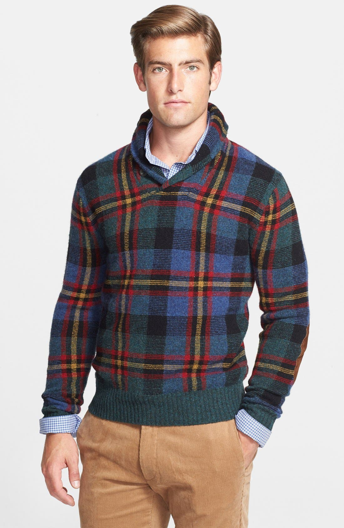 POLO RALPH LAUREN,                             Plaid Shawl Collar Wool Sweater,                             Main thumbnail 1, color,                             420