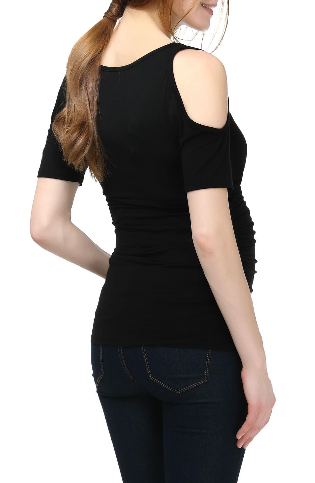 Mika Cold Shoulder Faux Wrap Maternity Top,                             Alternate thumbnail 2, color,                             BLACK