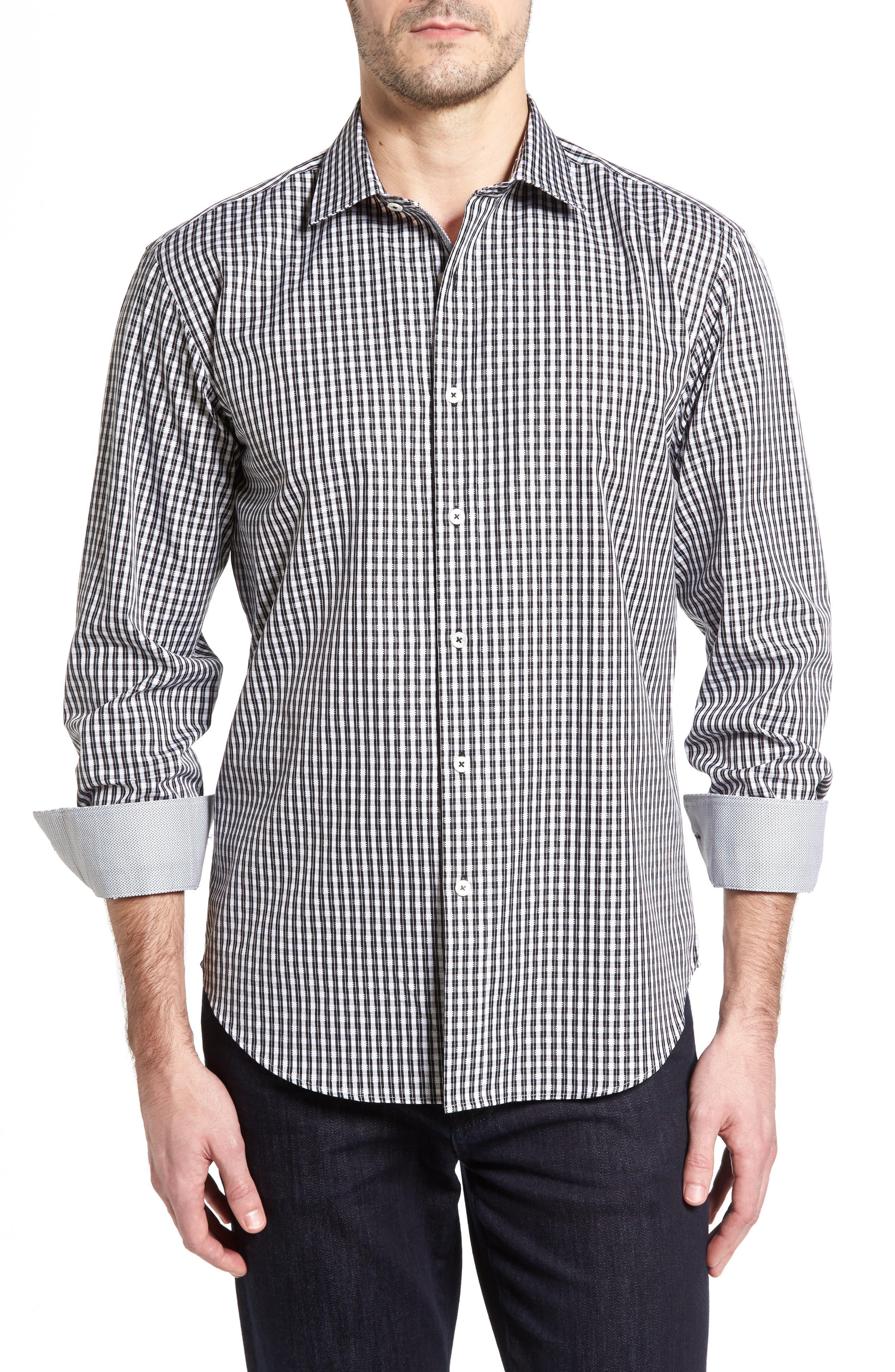 Shaped Fit Plaid Sport Shirt,                         Main,                         color, 001