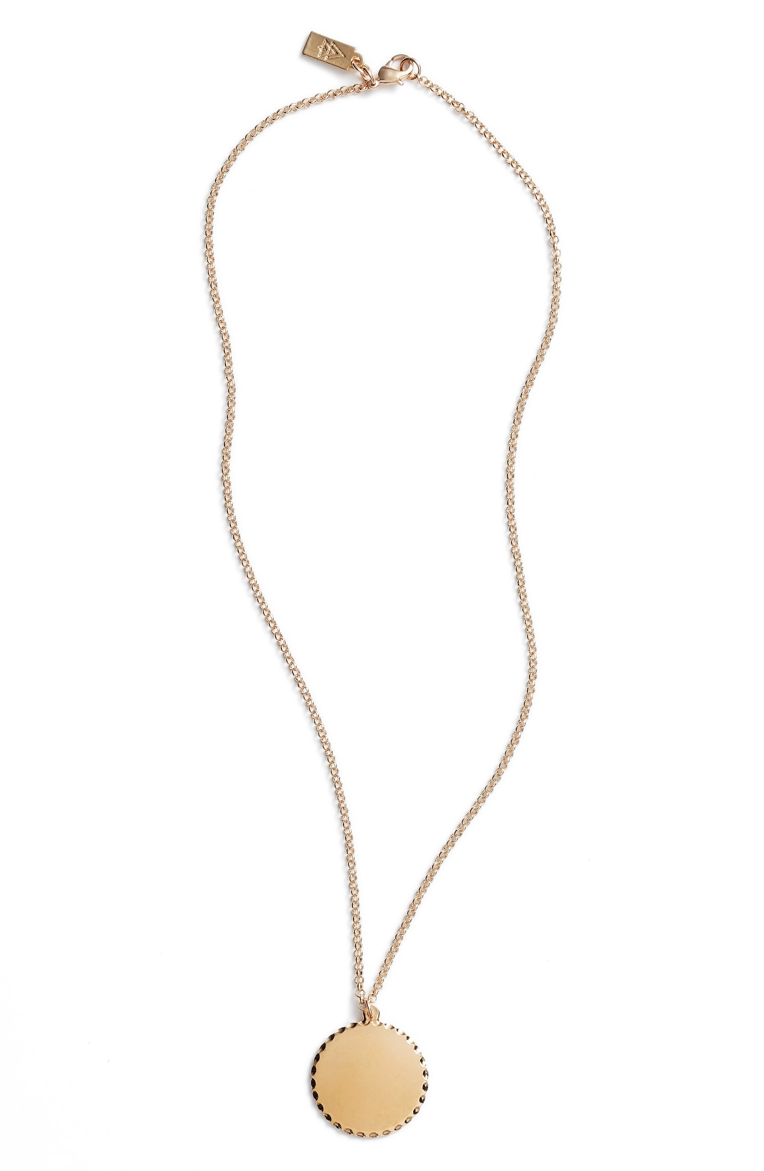 Roma Medallion Necklace,                         Main,                         color, YELLOW GOLD