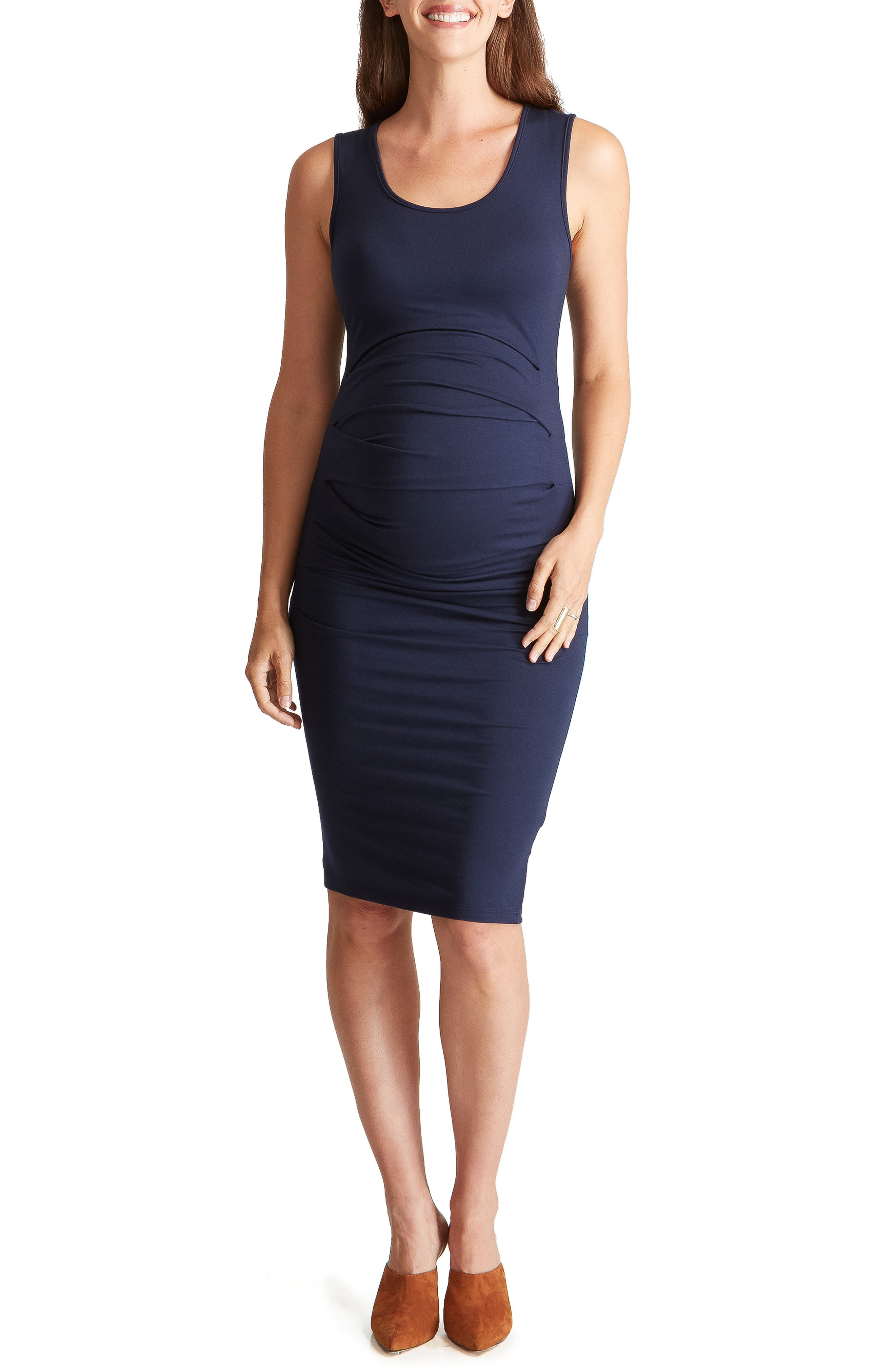 Ingrid & Isabel Ruched Maternity Tank Dress, Blue