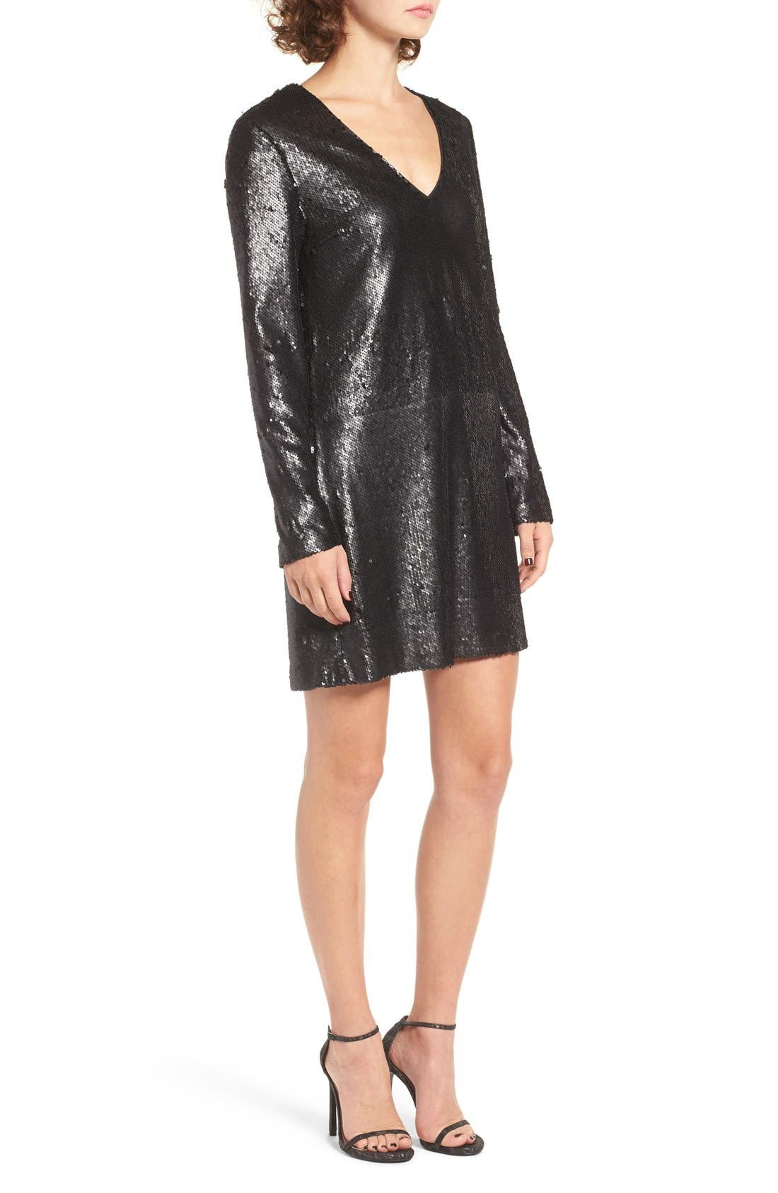 Skyline Sequin Dress,                             Alternate thumbnail 3, color,                             001
