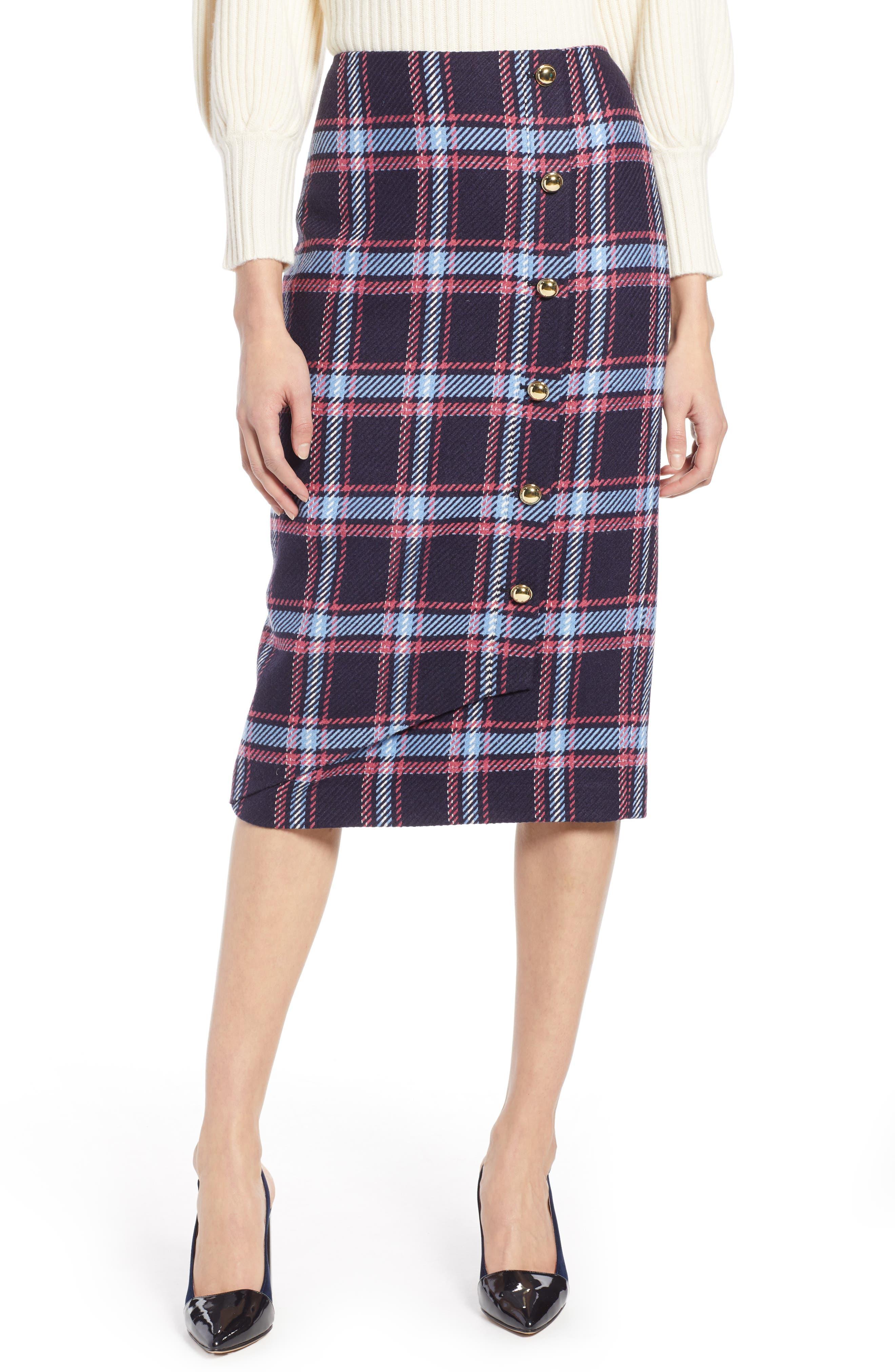 x Atlantic-Pacific Plaid Wrap Pencil Skirt,                         Main,                         color, NAVY PLAID
