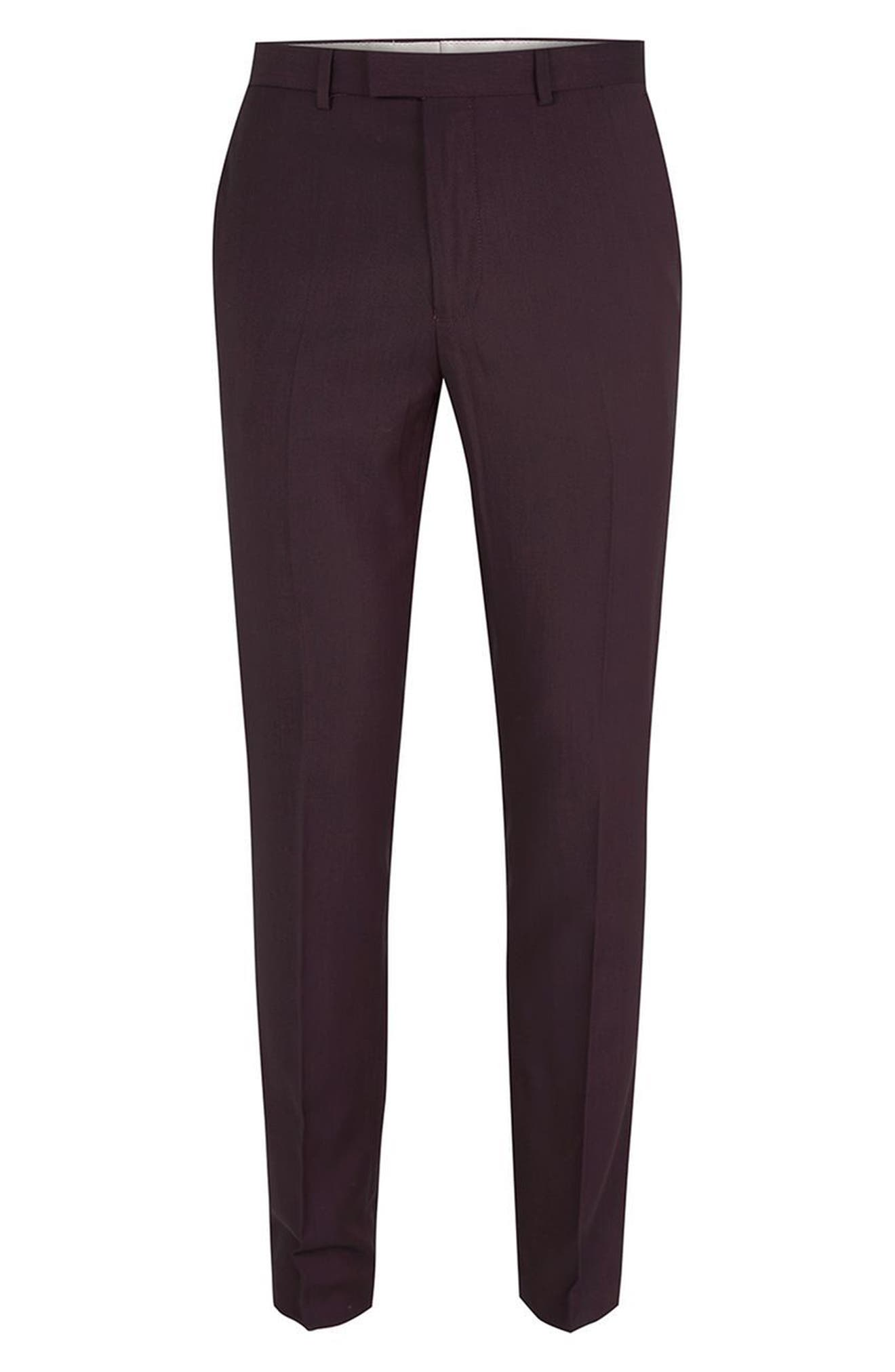 TOPMAN,                             Skinny Fit Plum Suit Trousers,                             Alternate thumbnail 4, color,                             500