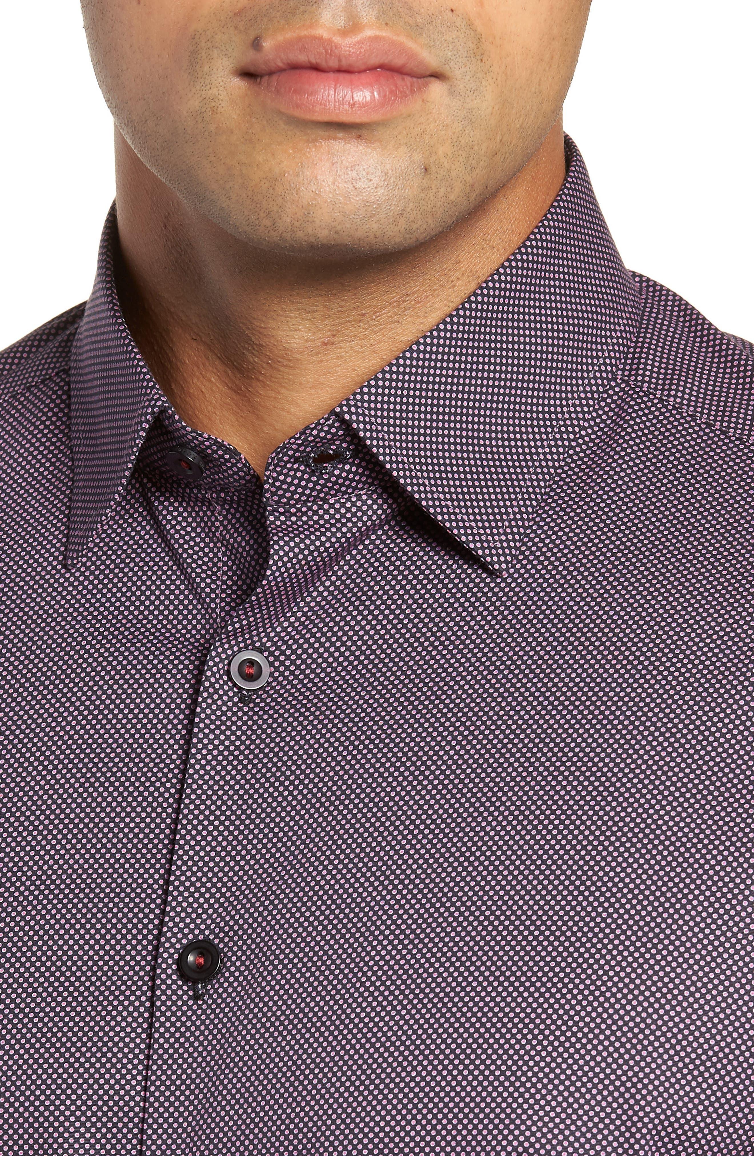 Regular Fit Microdot Sport Shirt,                             Alternate thumbnail 2, color,                             BLACK