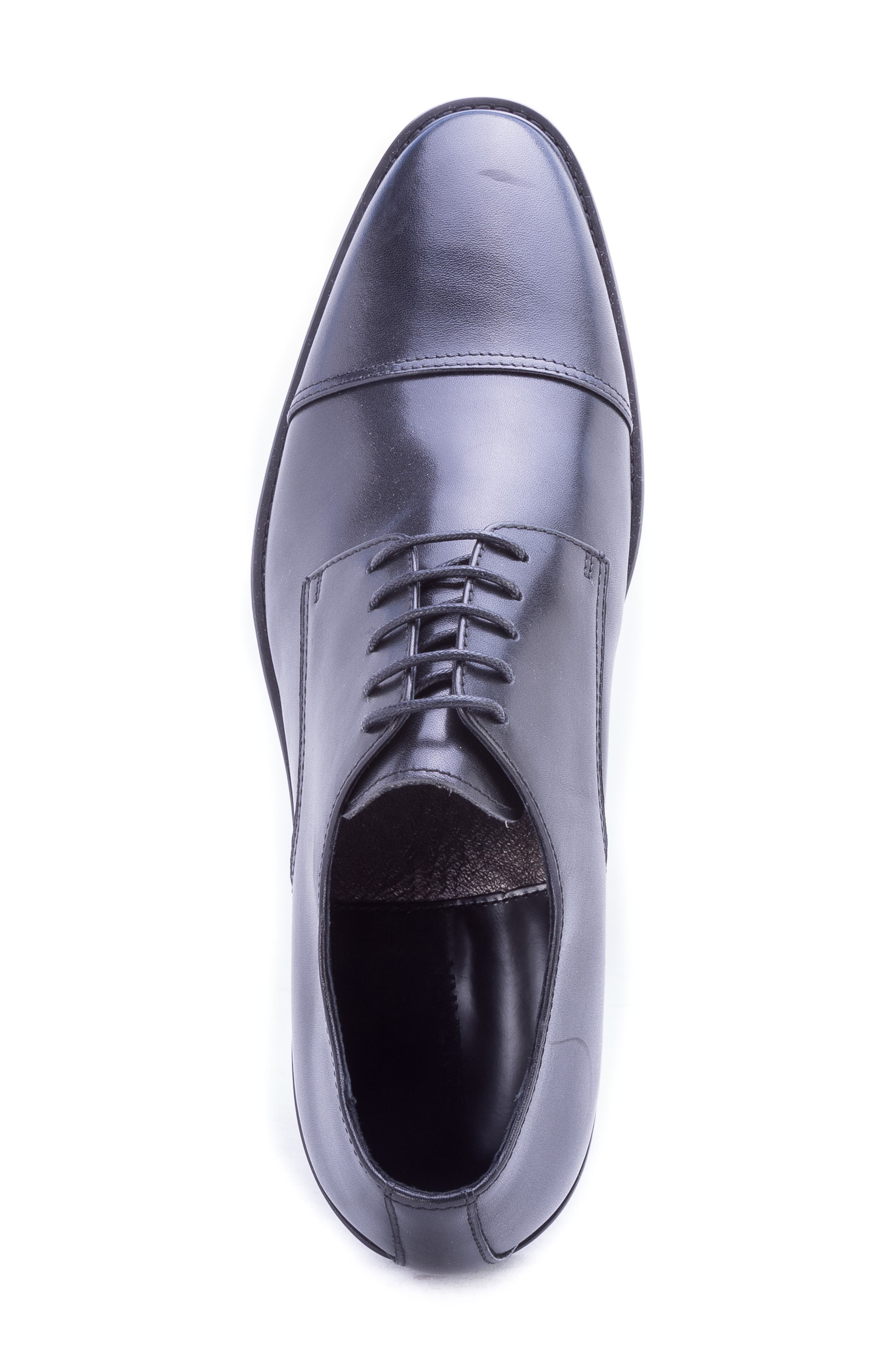 Welti Cap Toe Derby,                             Alternate thumbnail 5, color,                             BLACK LEATHER