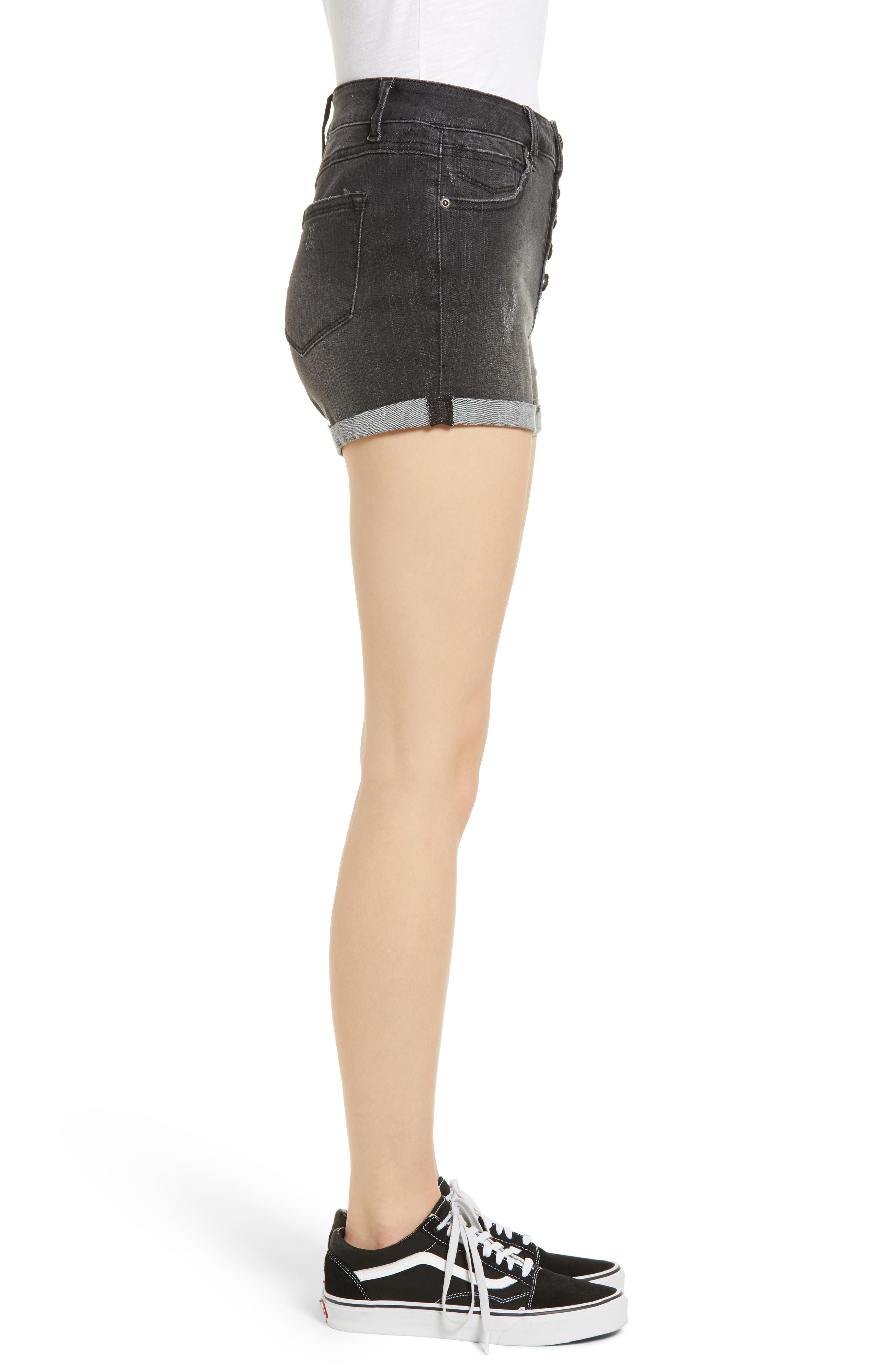 1822 DENIM,                             Cuffed Button Fly Denim Shorts,                             Alternate thumbnail 3, color,                             400