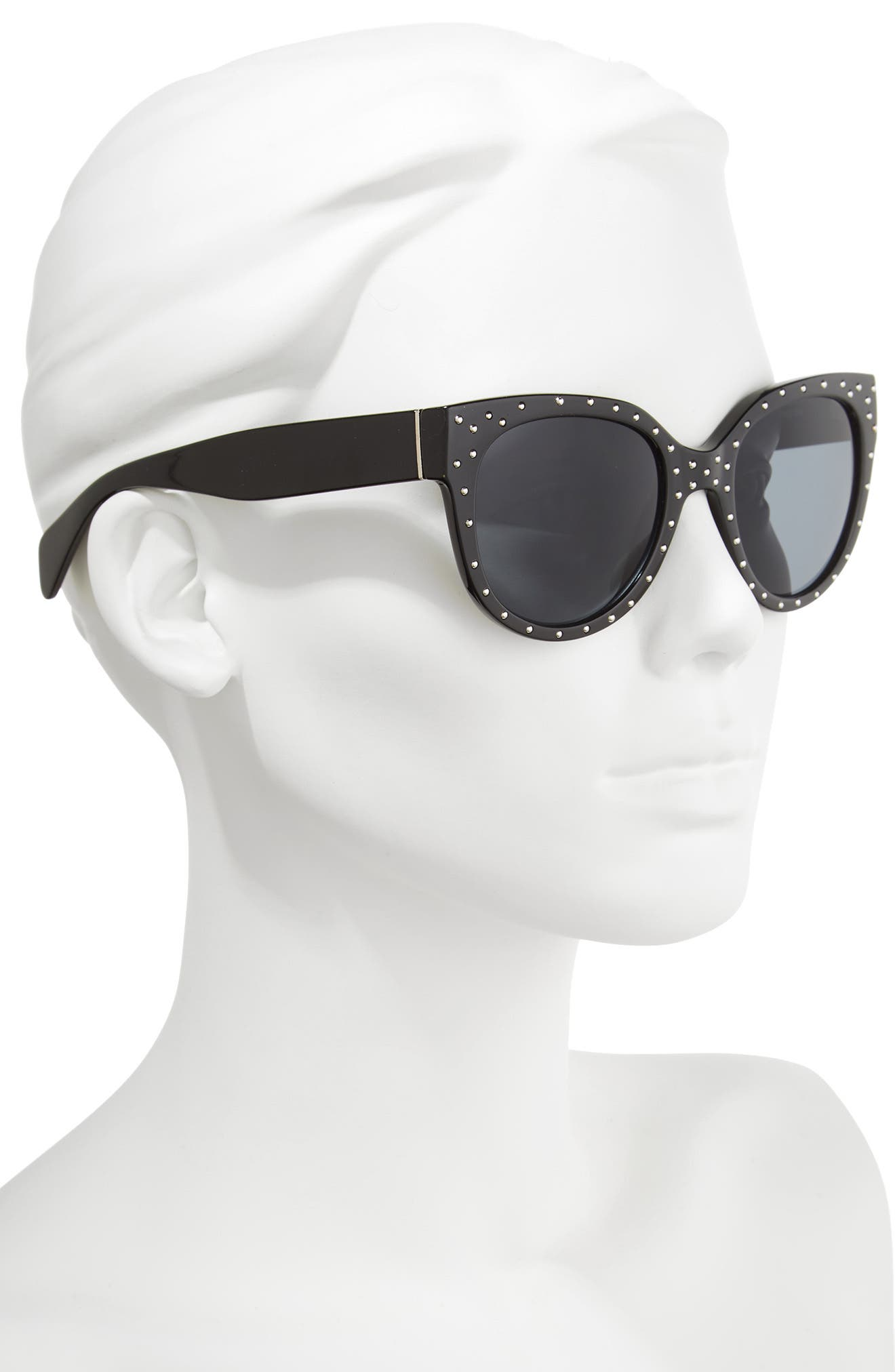 53mm Studded Cat Eye Sunglasses,                             Alternate thumbnail 2, color,                             001