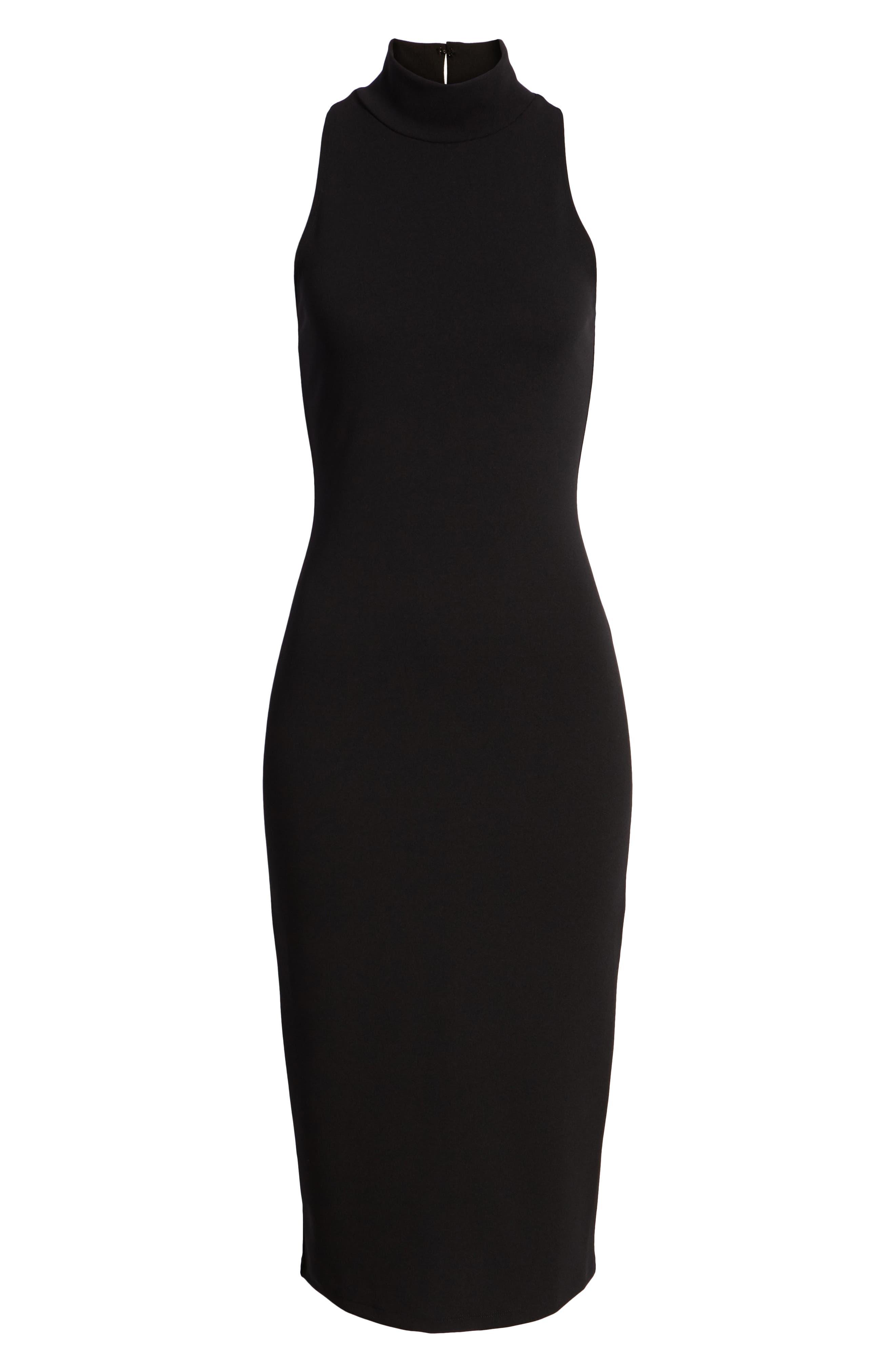 Mock Neck Body-Con Dress,                             Alternate thumbnail 7, color,                             BLACK
