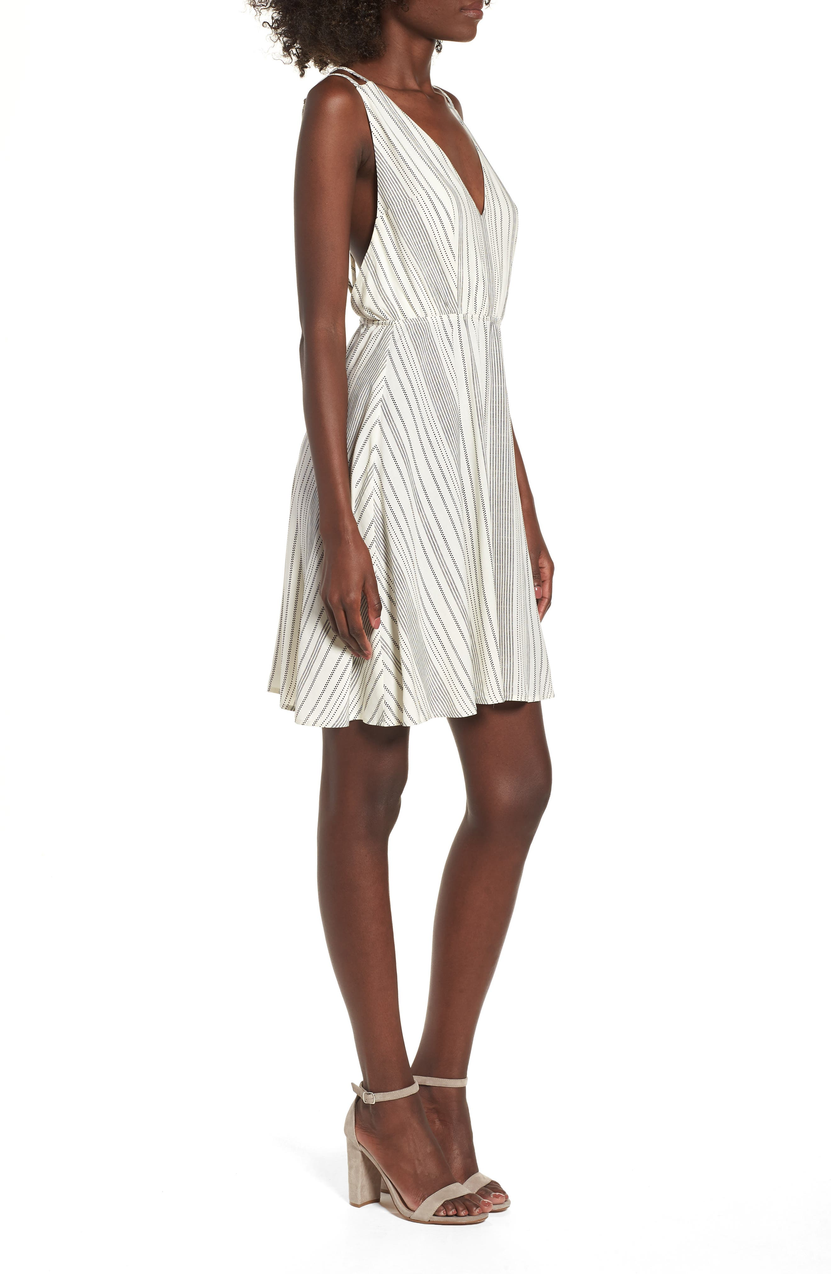 Stripe Strappy Swing Dress,                             Alternate thumbnail 3, color,                             900