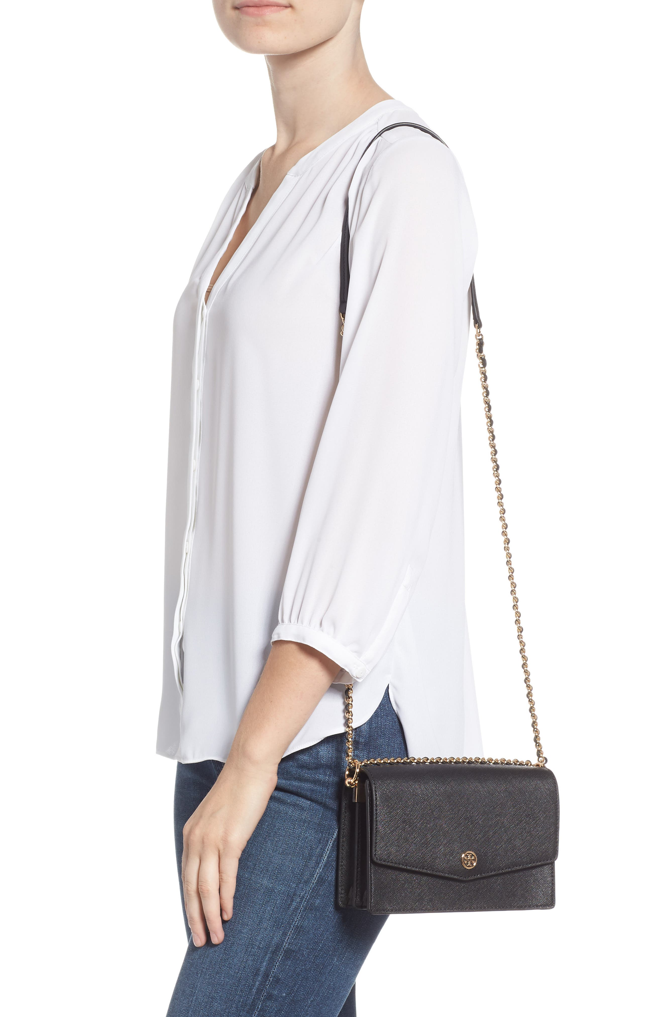 Mini Robinson Convertible Leather Shoulder Bag,                             Alternate thumbnail 2, color,                             BLACK