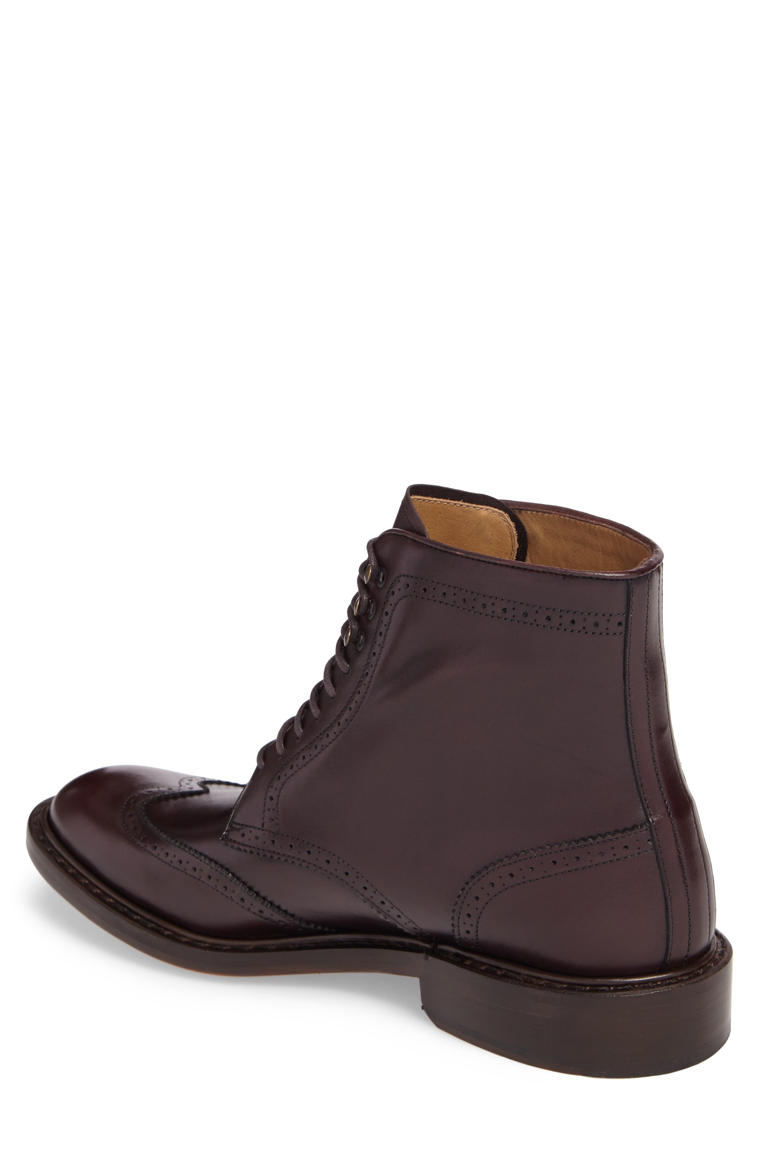 Carter Wingtip Boot,                             Alternate thumbnail 2, color,                             BURGUNDY LEATHER
