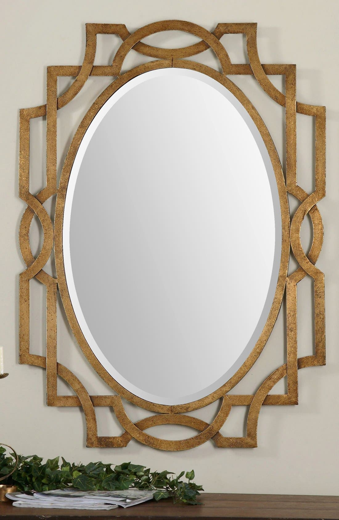 'Margutta' Antiqued Goldtone Oval Mirror,                             Alternate thumbnail 3, color,                             710
