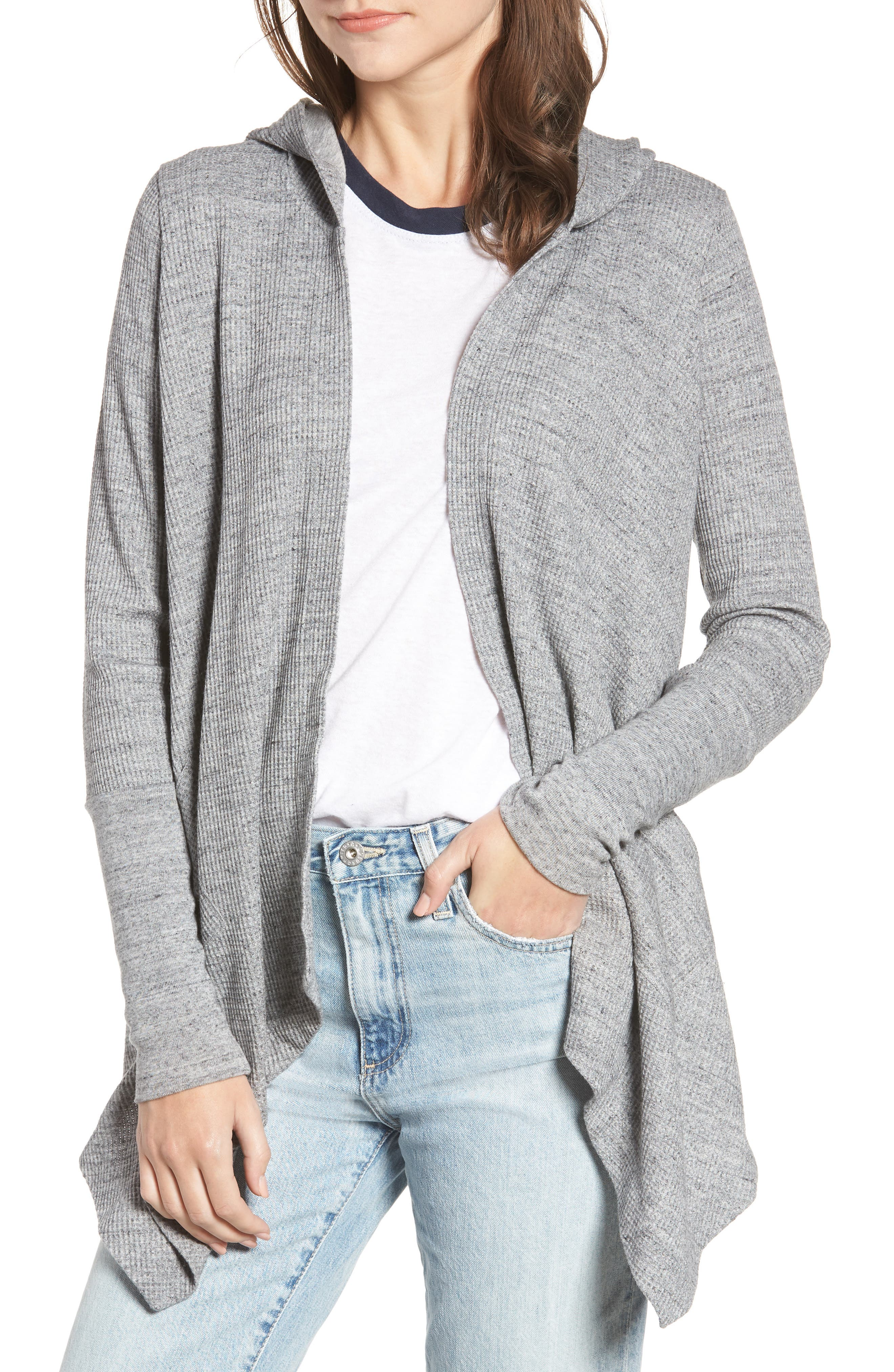 Thermal Hooded Cardigan,                         Main,                         color, GRAVEL HEATHER GREY
