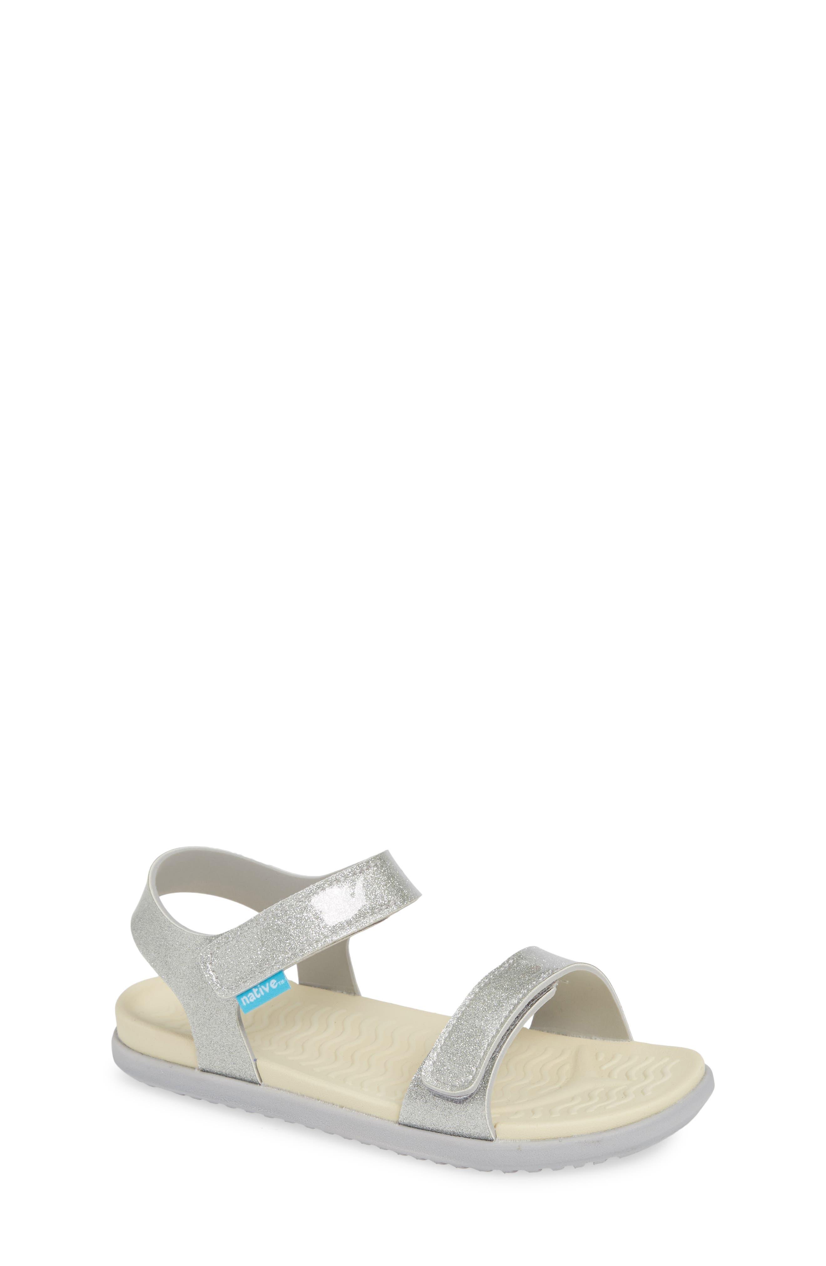 Charley Child Waterproof Flat Vegan Sandal,                             Main thumbnail 1, color,                             SILVER GLITTER/ WHITE/ GREY