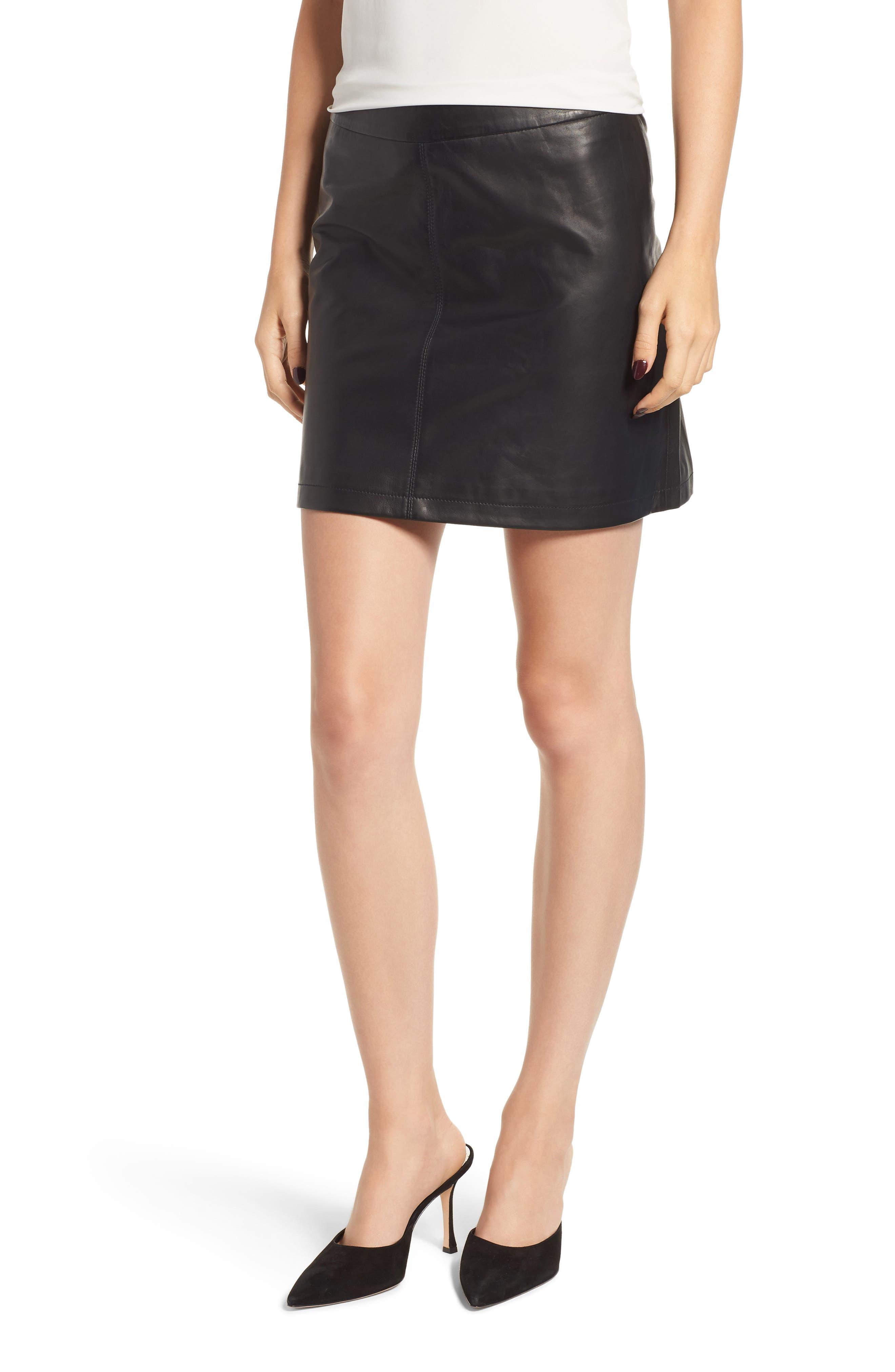 Marrie Leather Miniskirt,                         Main,                         color, BLACK