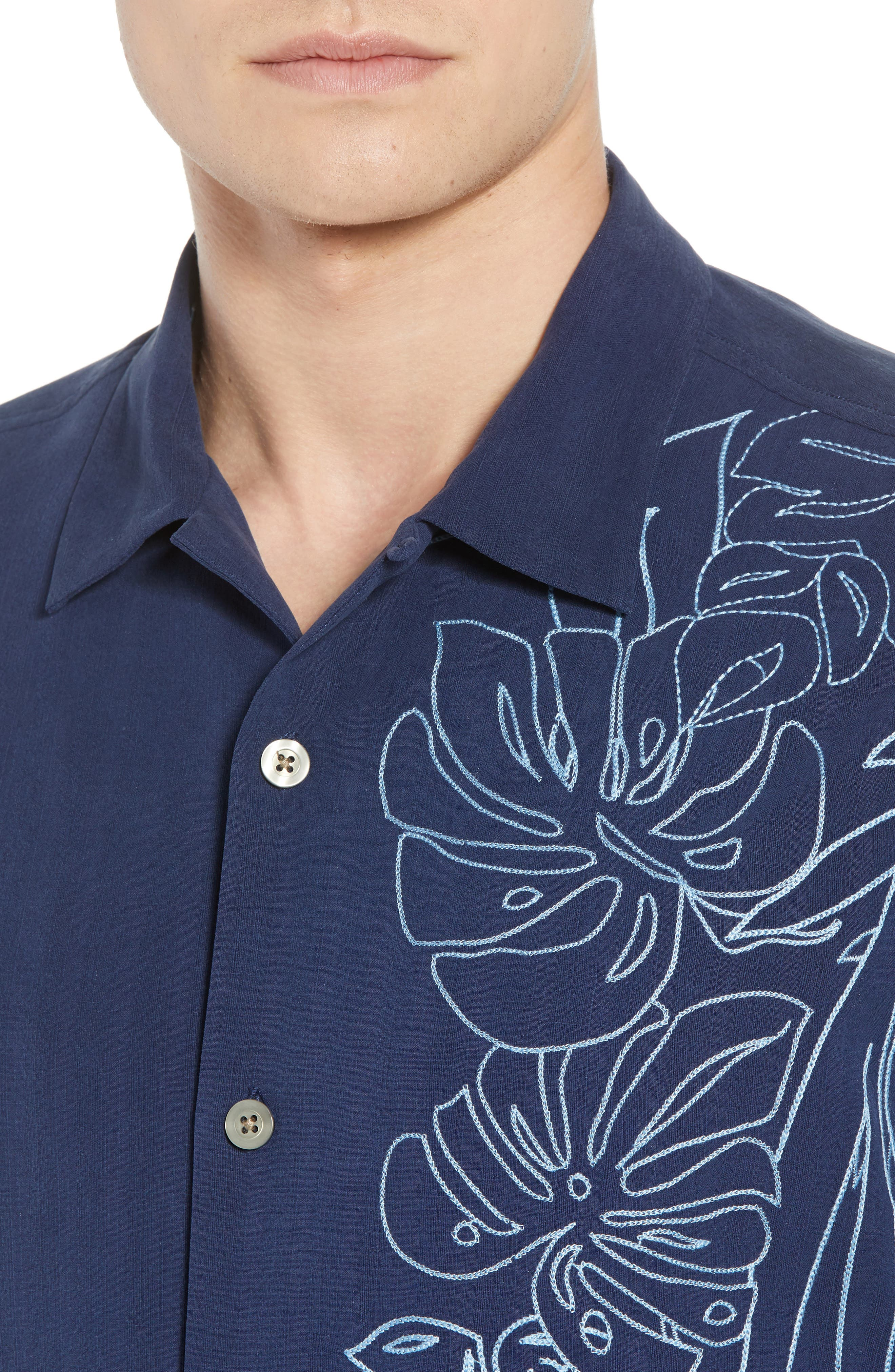 Playa Palmas Silk Camp Shirt,                             Alternate thumbnail 4, color,                             OCEAN DEEP