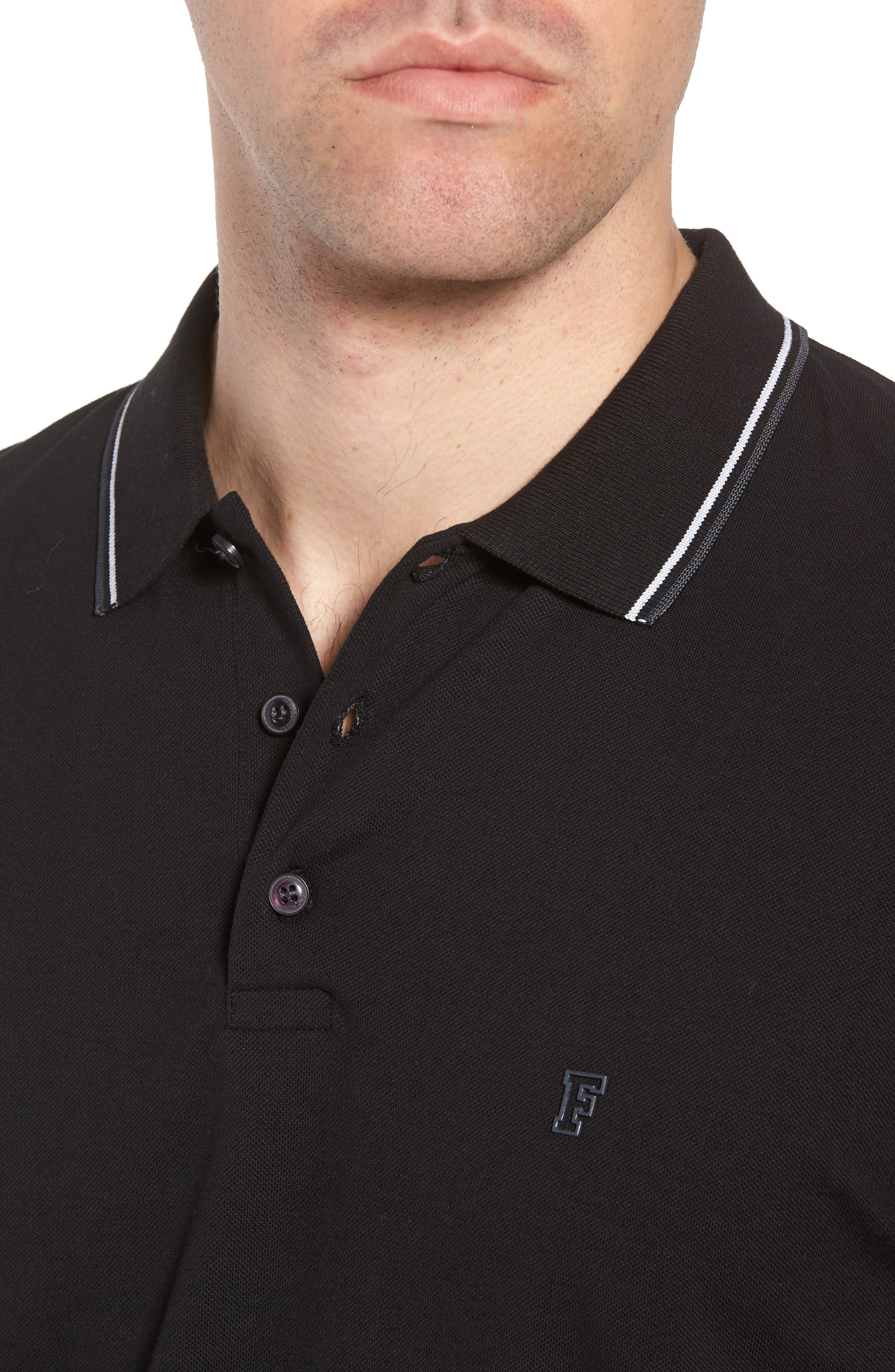 Cotton Polo Shirt,                             Alternate thumbnail 4, color,                             BLACK