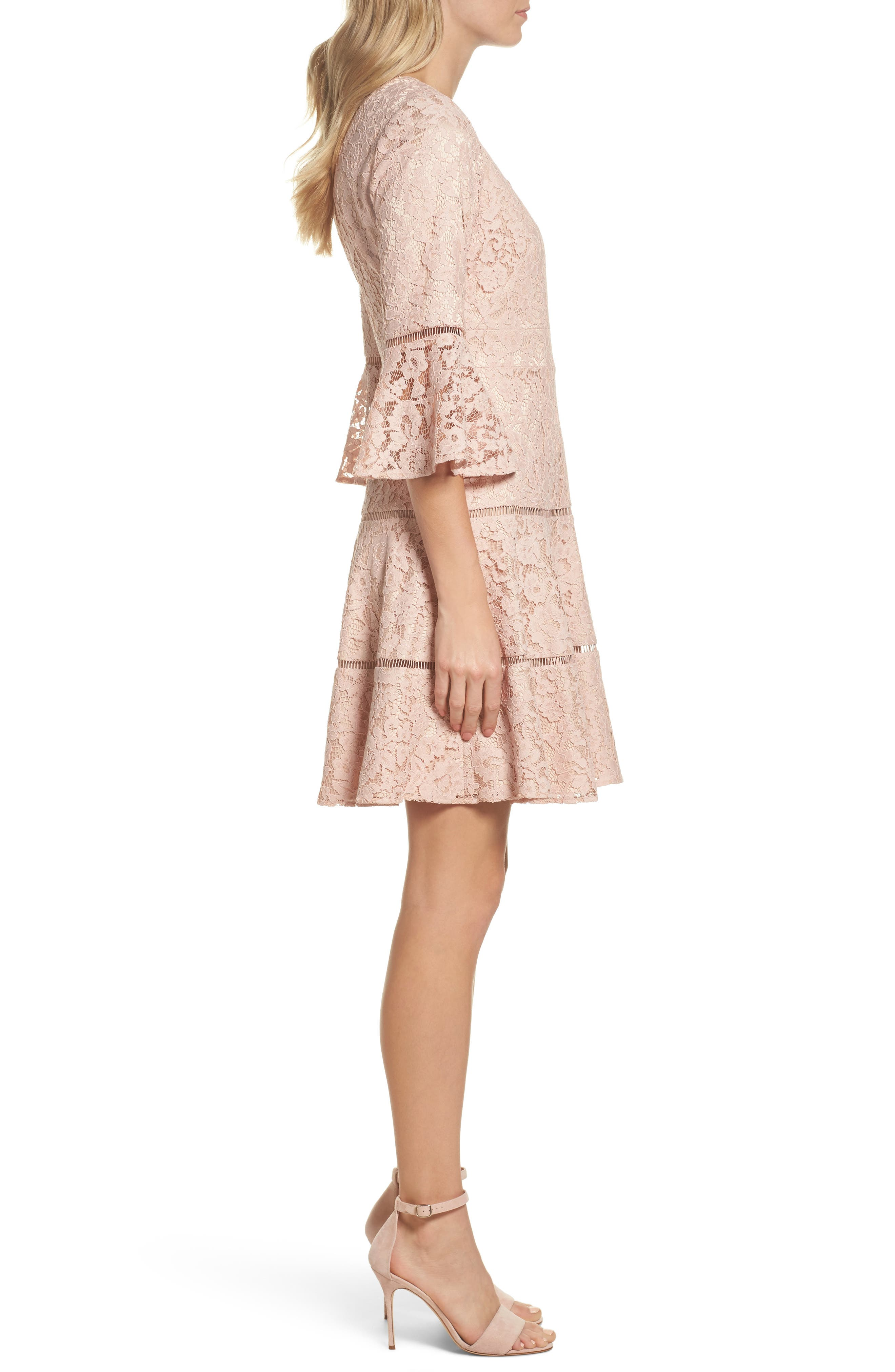 Bell Sleeve Lace Fit & Flare Dress,                             Alternate thumbnail 6, color,
