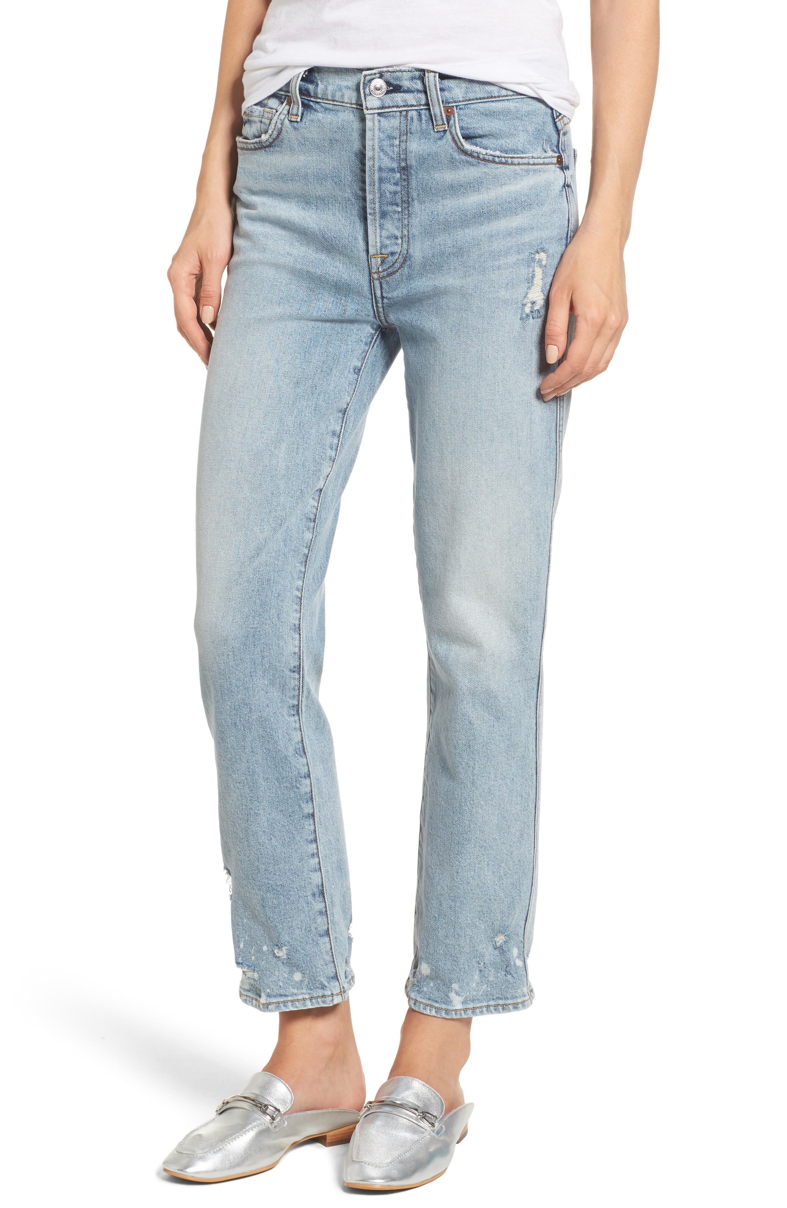 Edie High Waist Crop Straight Leg Jeans,                             Main thumbnail 1, color,                             400