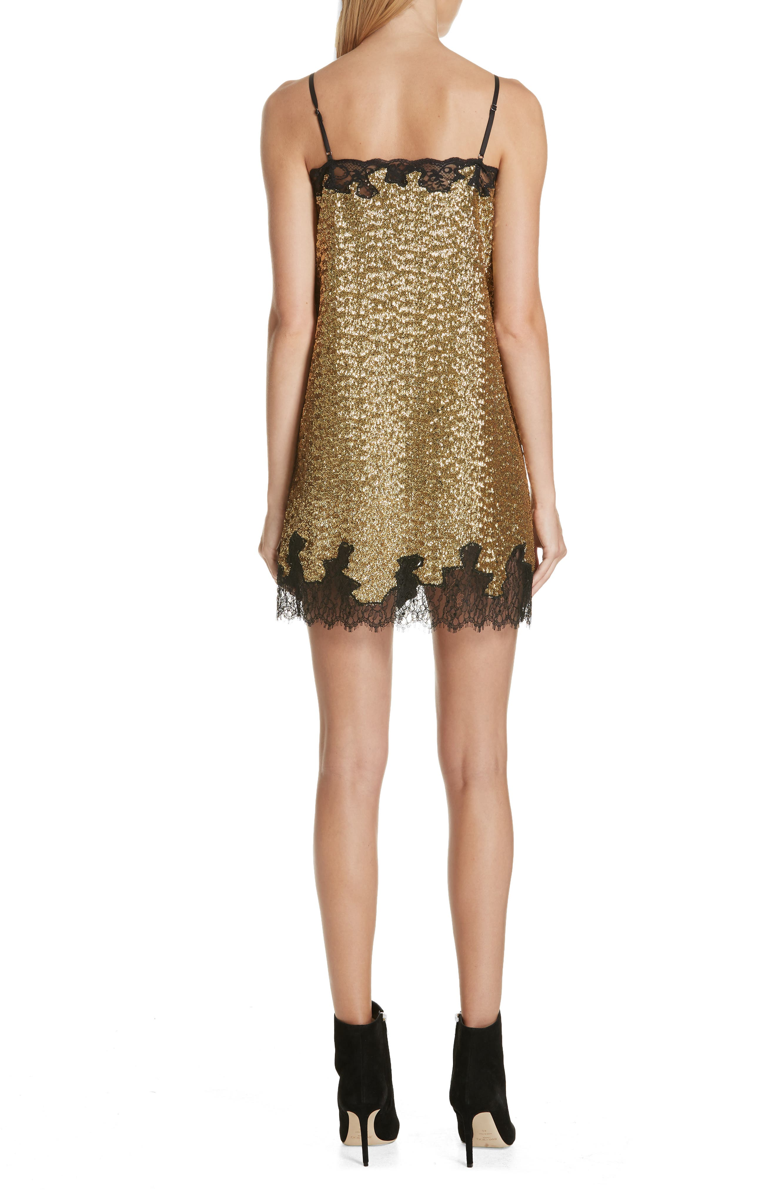 Sequin Lace Camisole Dress,                             Alternate thumbnail 2, color,                             YELLOW