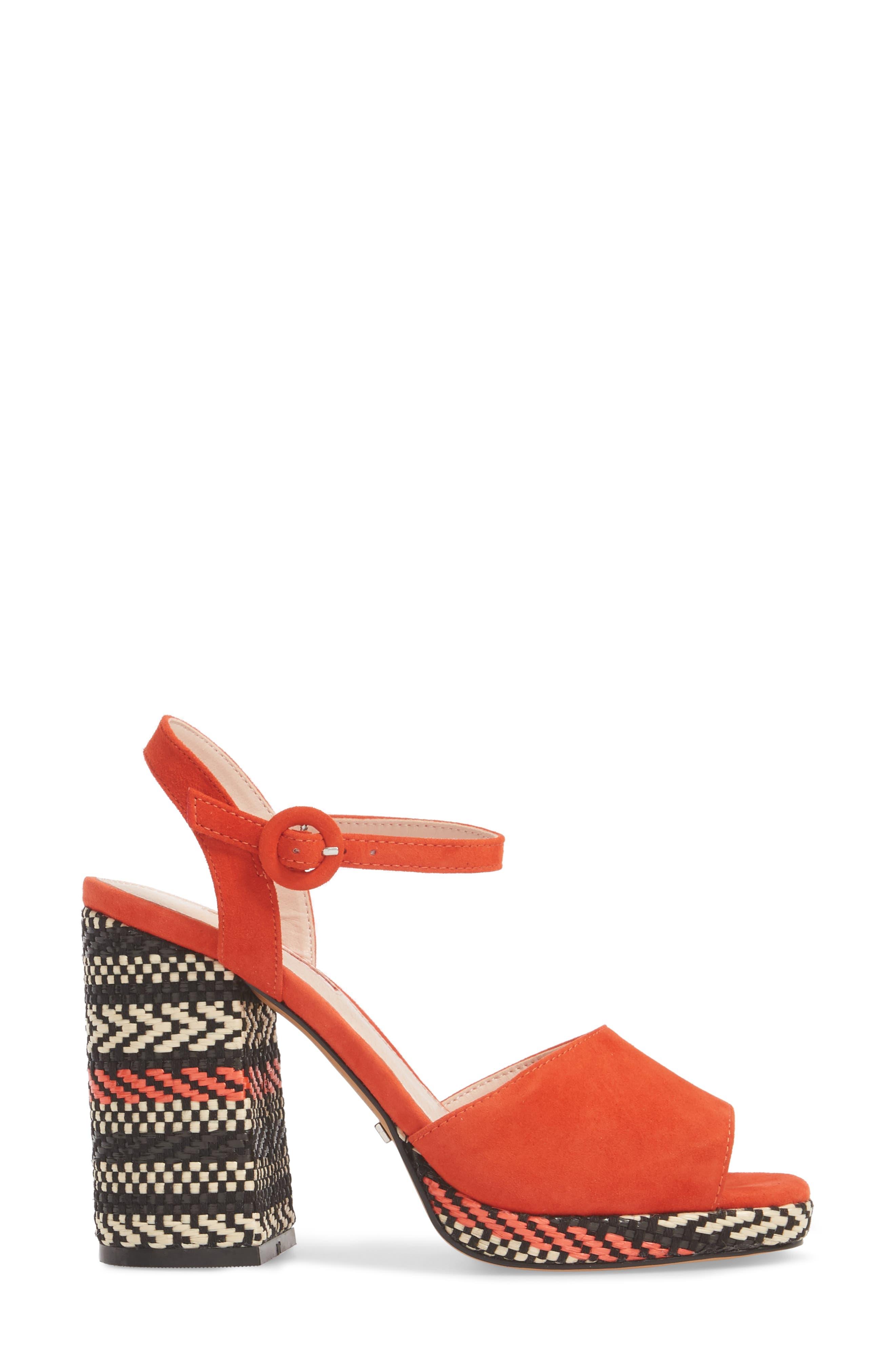 Laura Woven Block Heel Sandal,                             Alternate thumbnail 6, color,