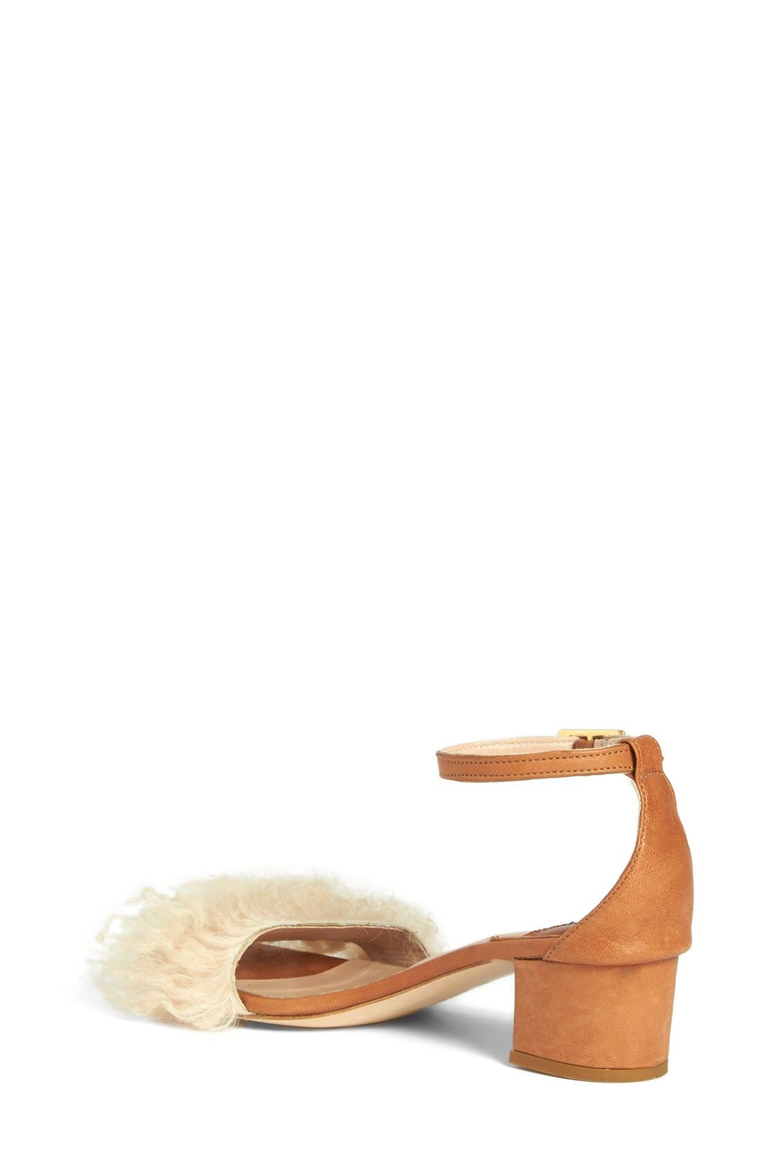 Tufted Dhara Genuine Shearling Ankle Strap Sandal,                             Alternate thumbnail 2, color,                             270