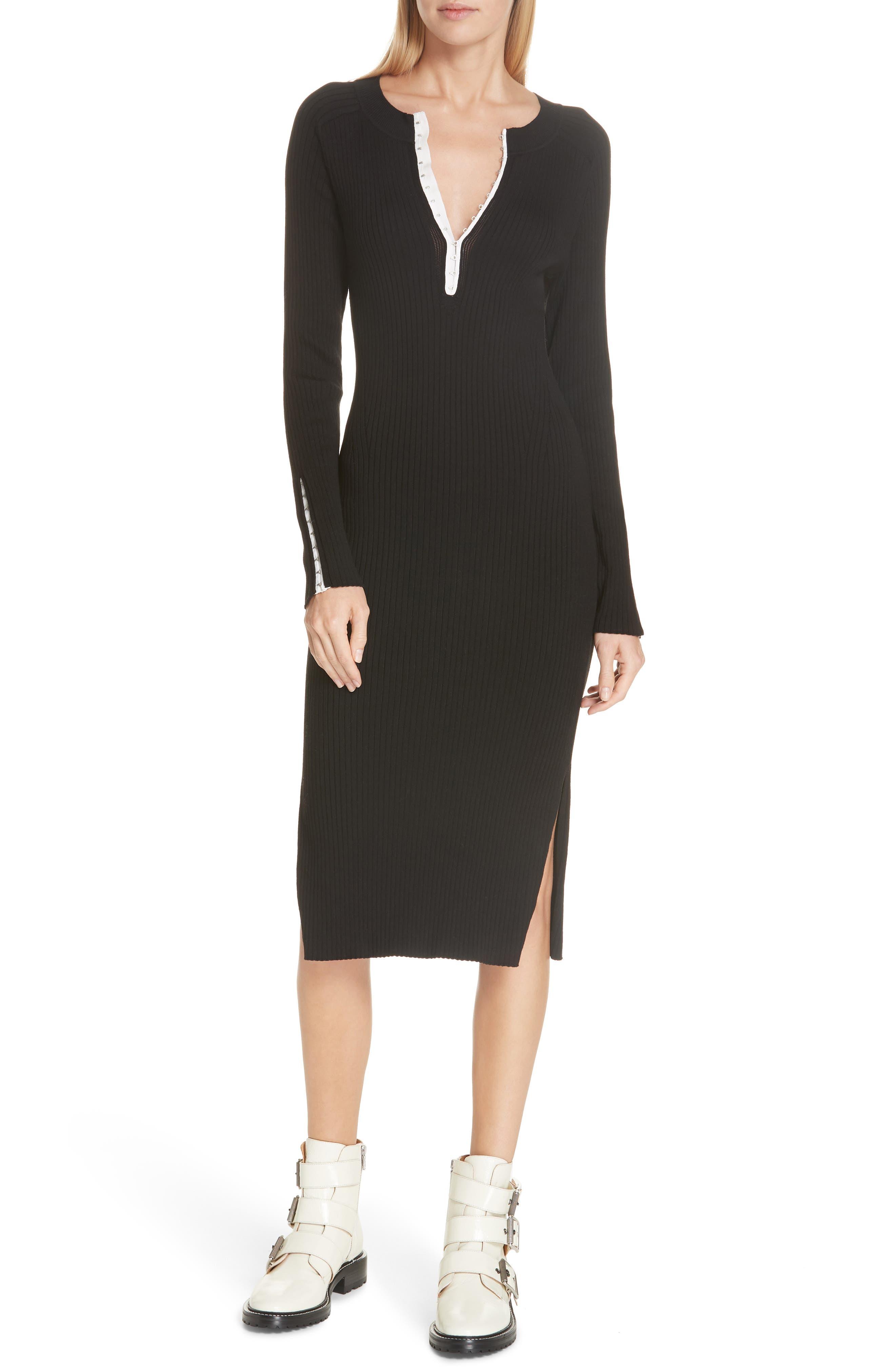 RAG & BONE Brynn Rib Knit Dress, Main, color, BLACK