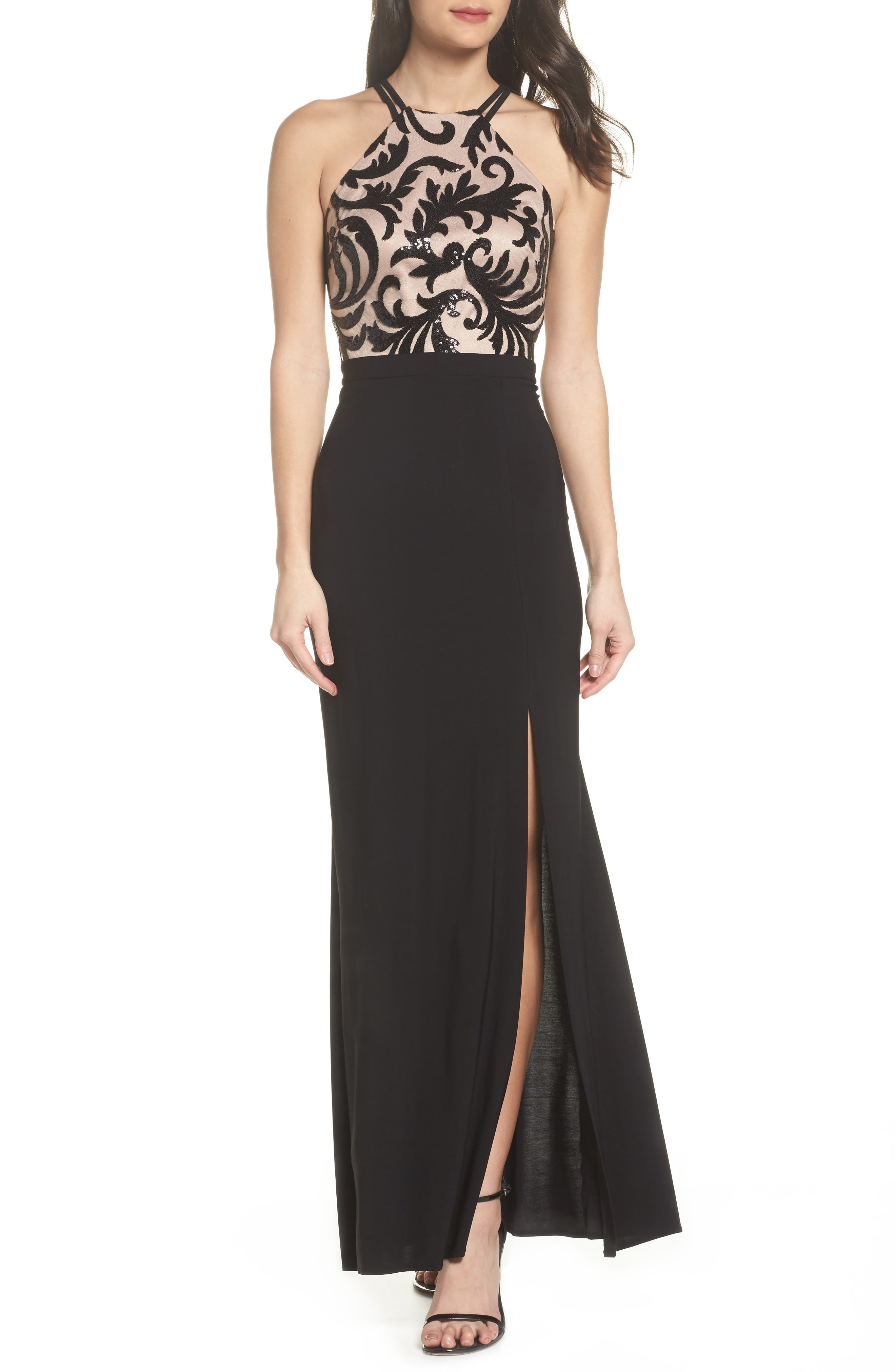 Sequin Embroidered Stretch Knit Gown,                             Main thumbnail 1, color,                             BLACK / NUDE