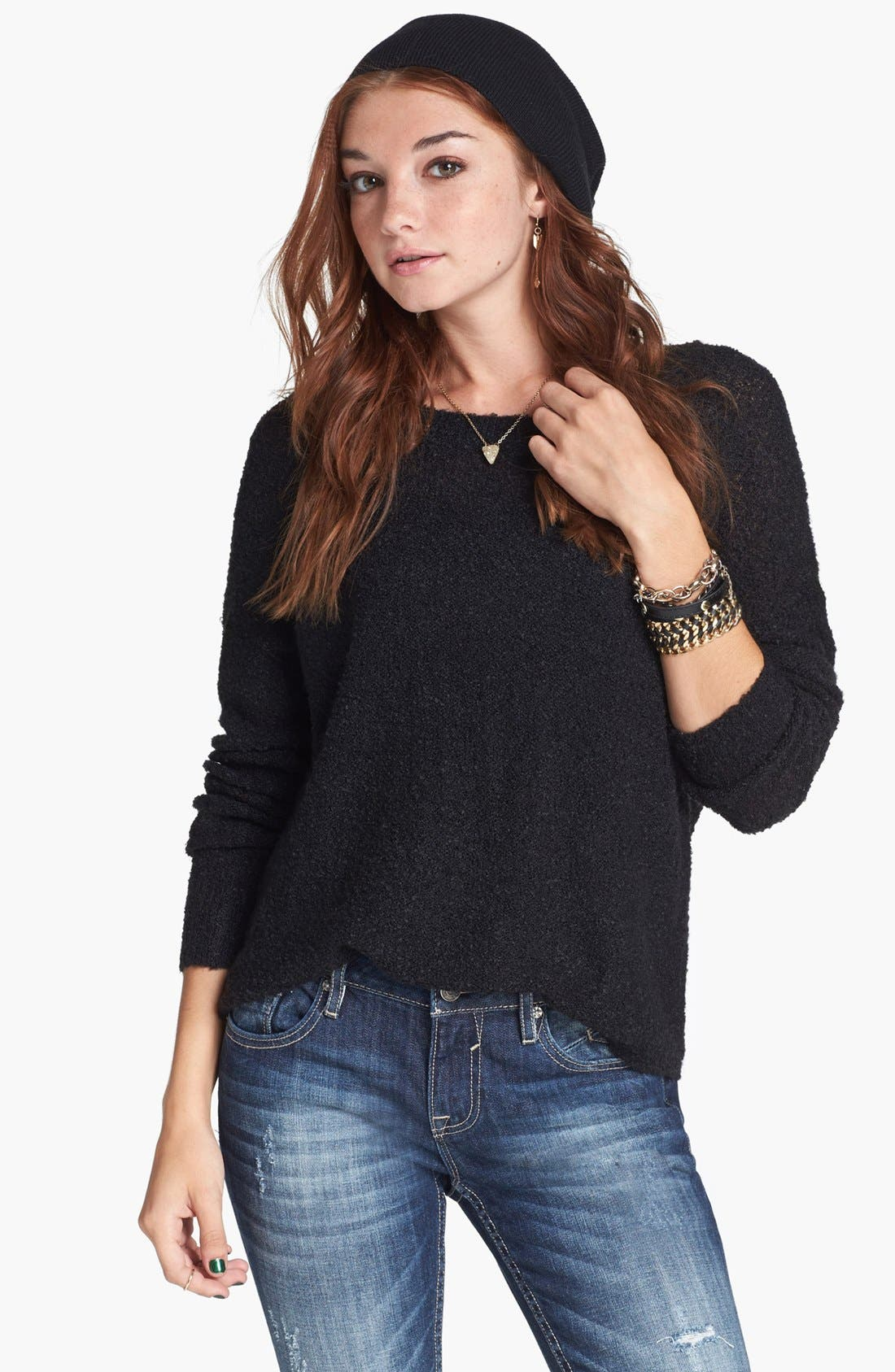 'Grunge' Textured Sweater,                         Main,                         color, 001