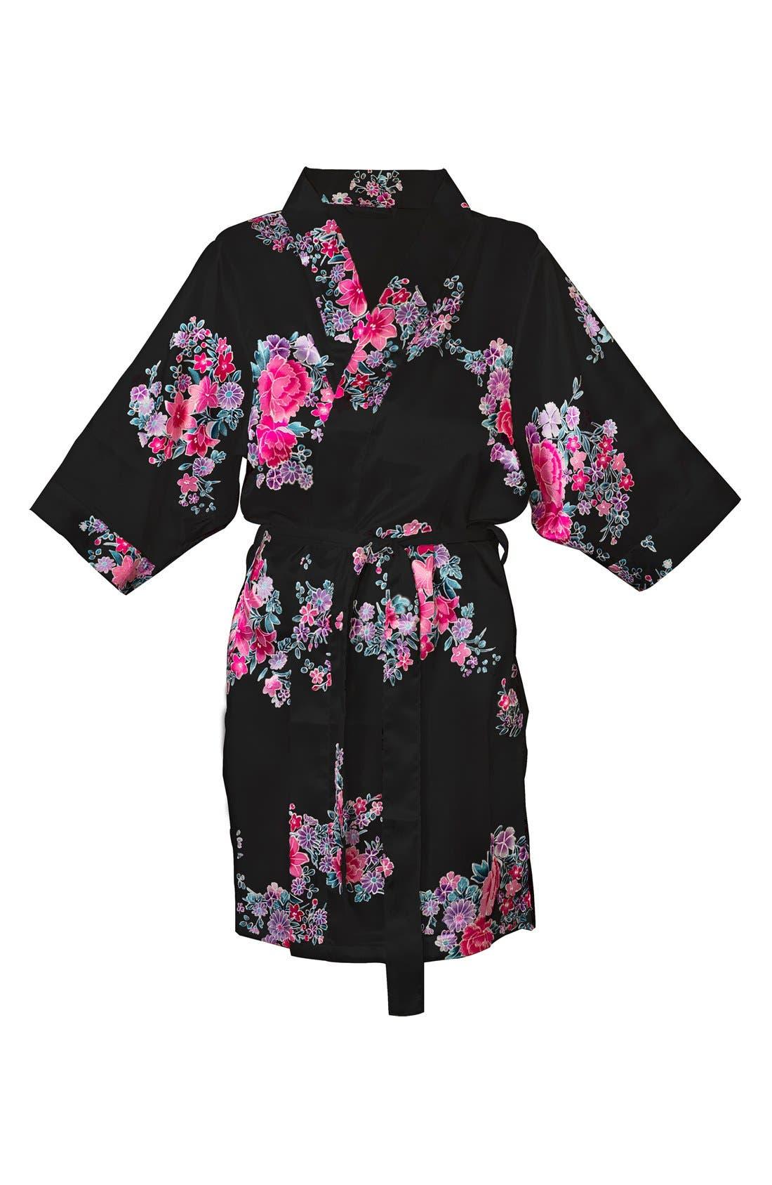 Monogram Floral Satin Robe,                             Main thumbnail 2, color,