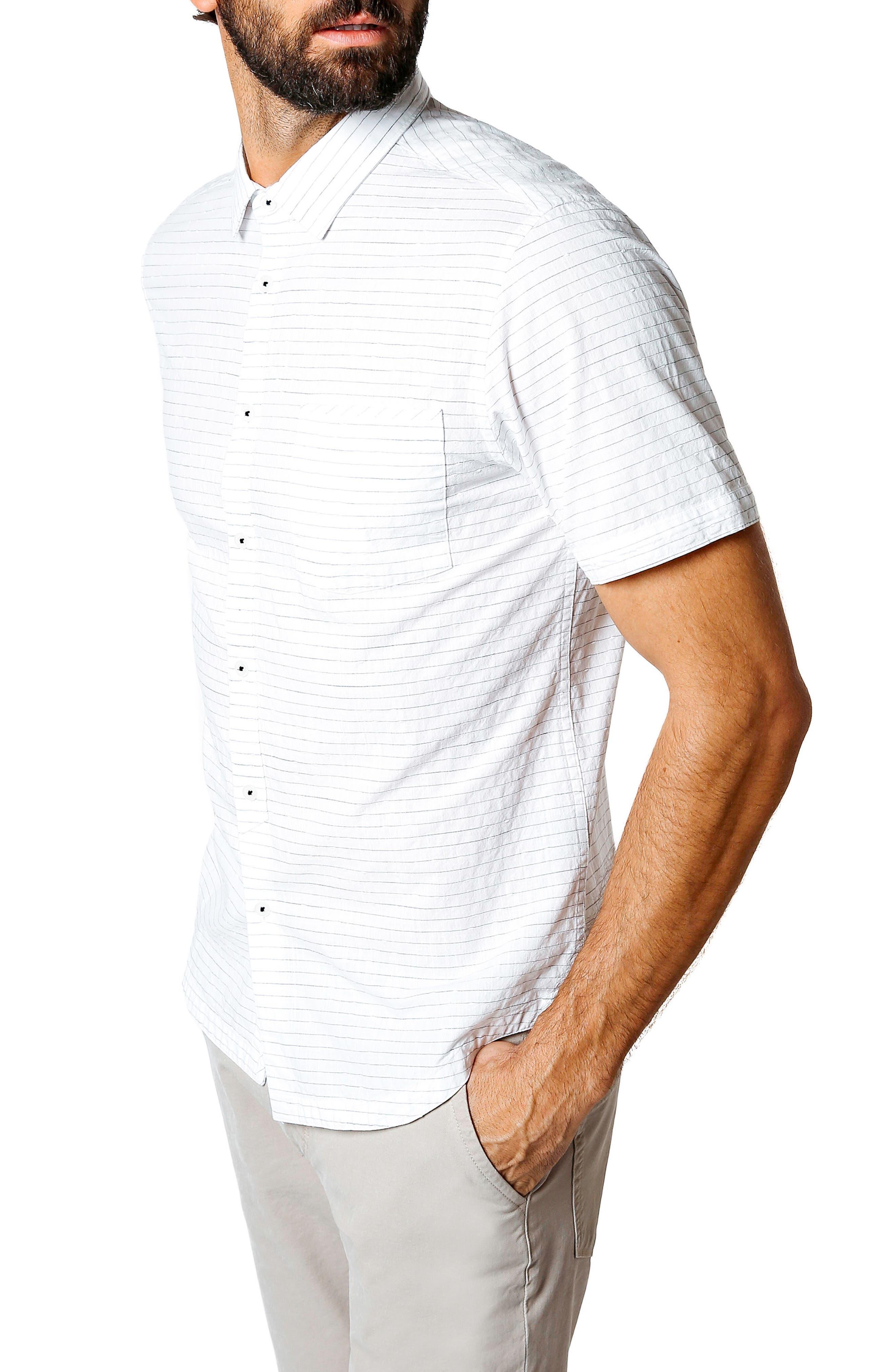 Longboard Trim Fit Stripe Sport Shirt,                             Alternate thumbnail 3, color,                             WHITE