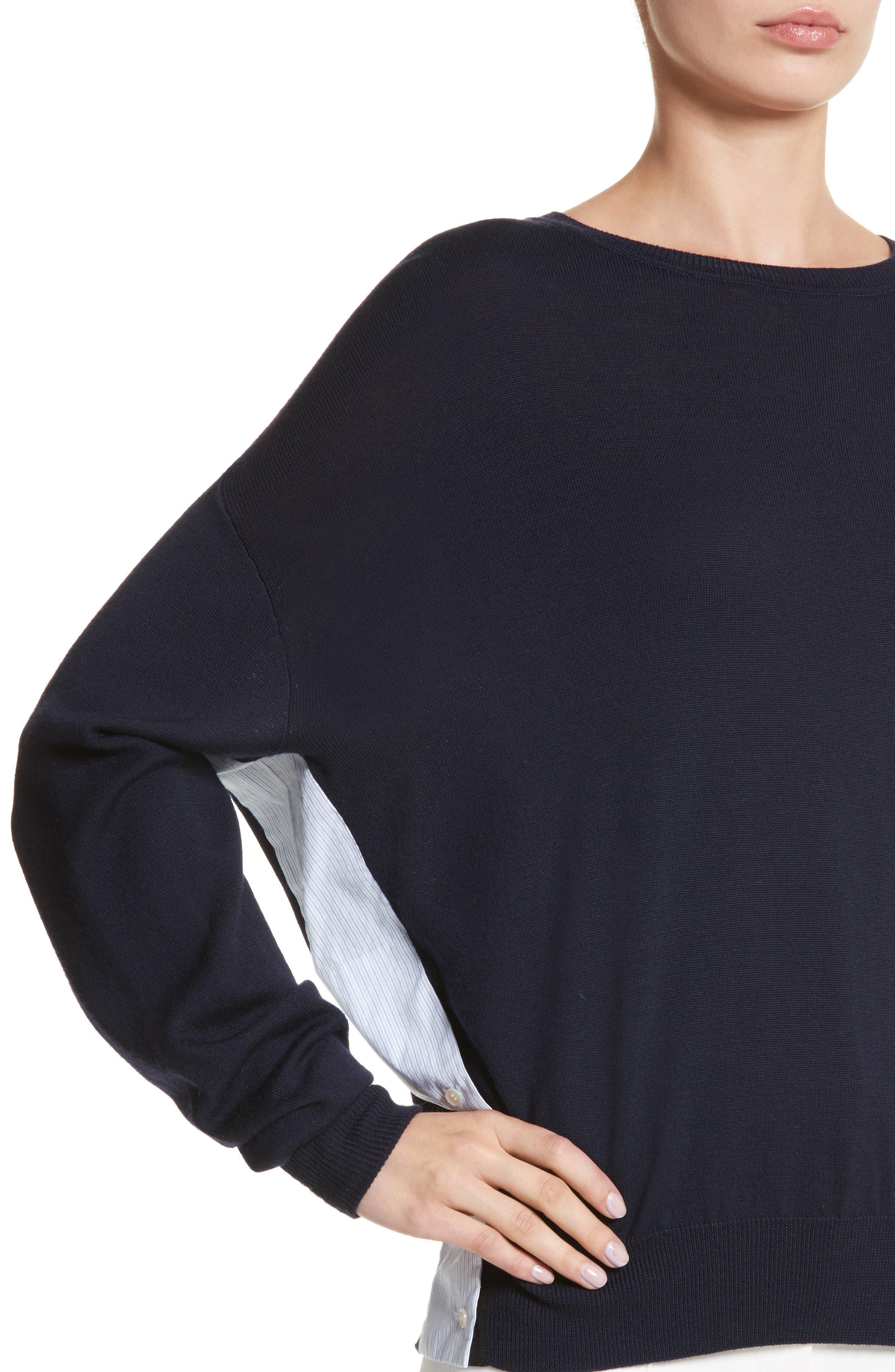 Cotton Gusset Merino Wool Sweater,                             Alternate thumbnail 4, color,