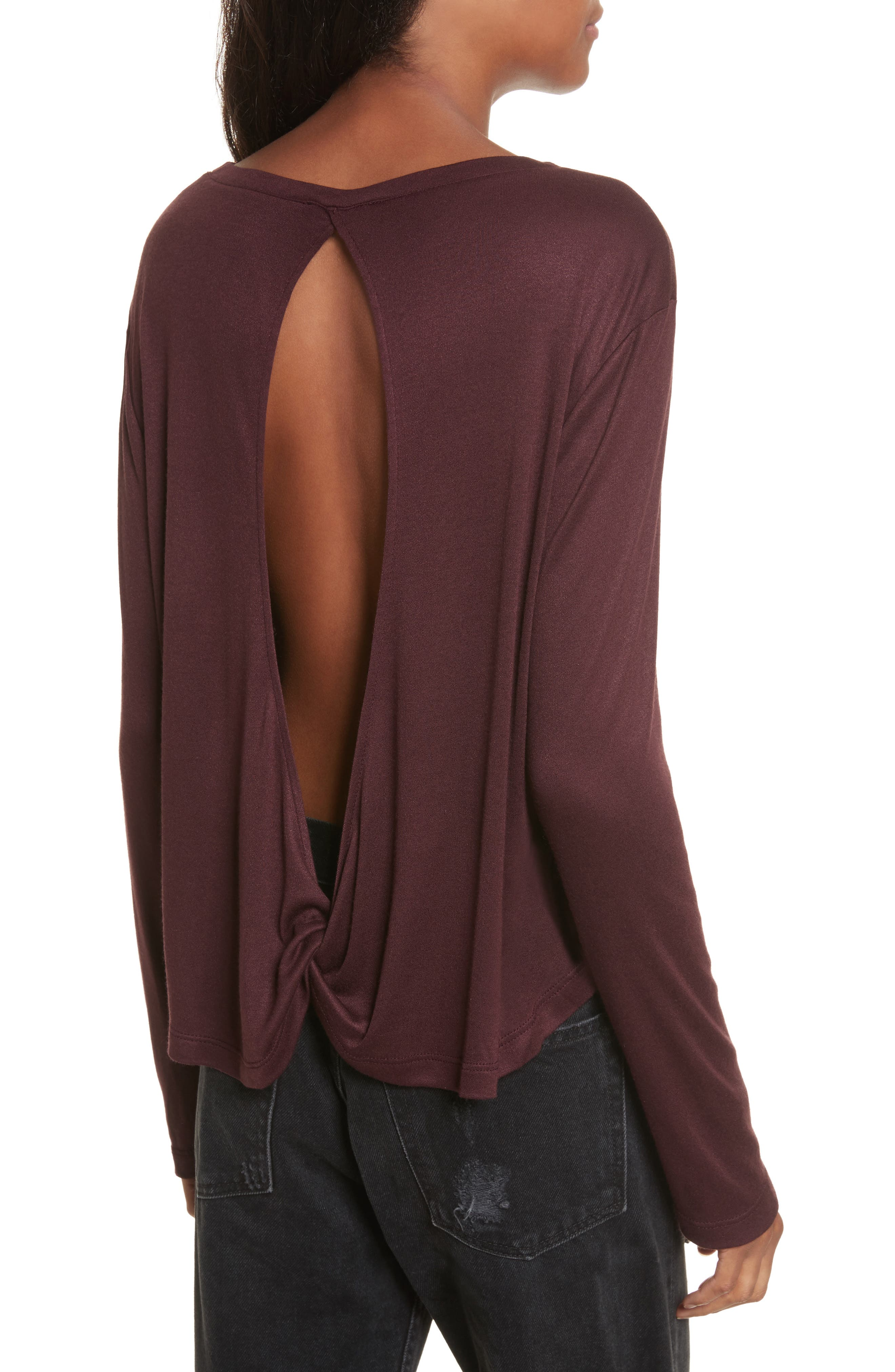 Willow Shine Jersey Open Back Top,                             Alternate thumbnail 4, color,