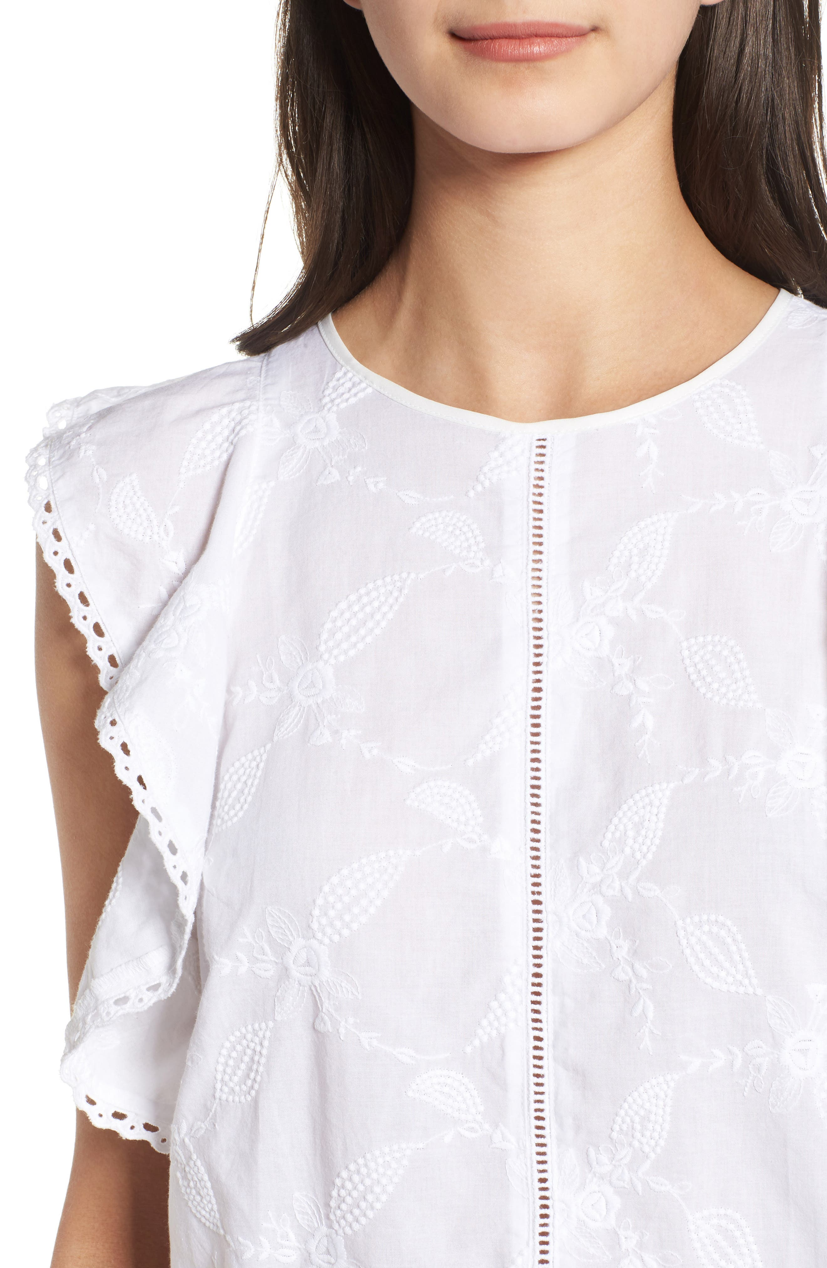 Flutter Sleeve Embroidered Top,                             Alternate thumbnail 4, color,                             WHITE