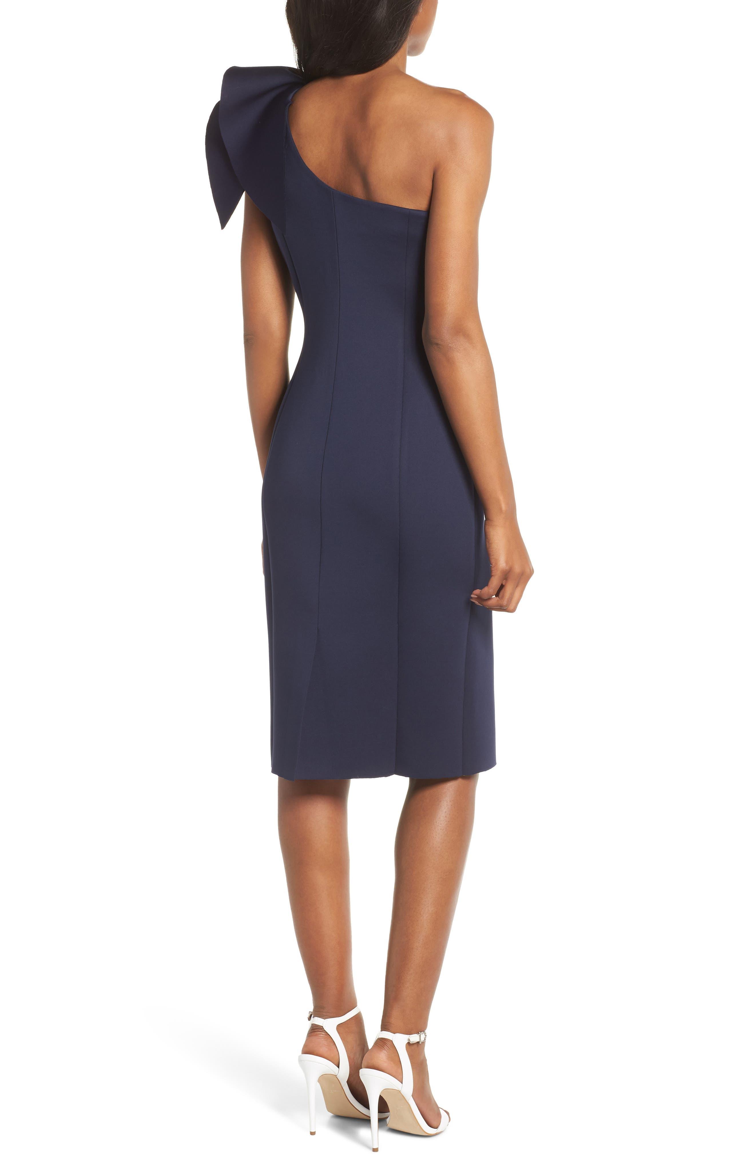 One-Shoulder Ruffle Sheath Dress,                             Alternate thumbnail 2, color,                             NAVY