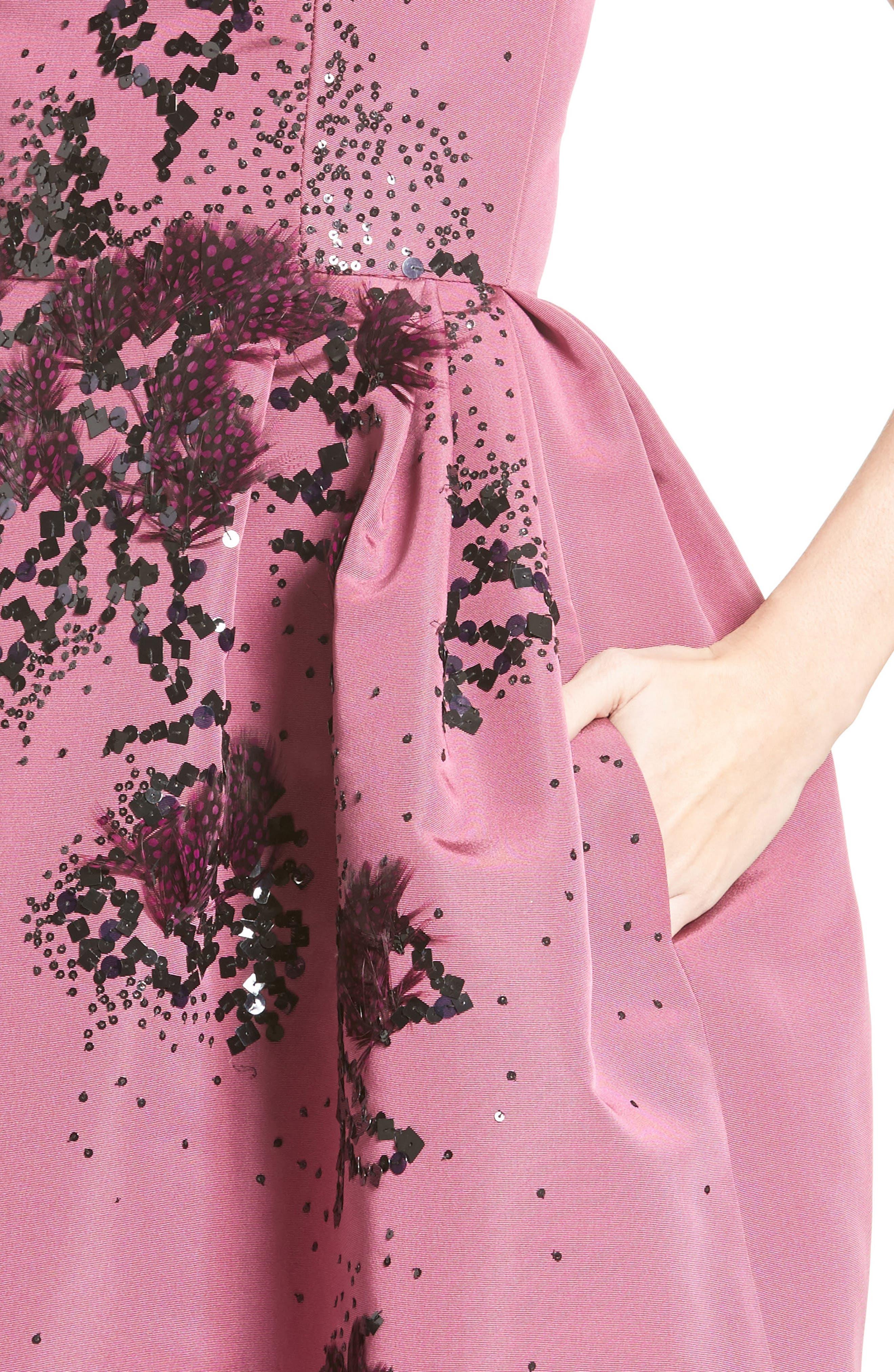 Embellished Silk Faille Dress,                             Alternate thumbnail 4, color,                             650