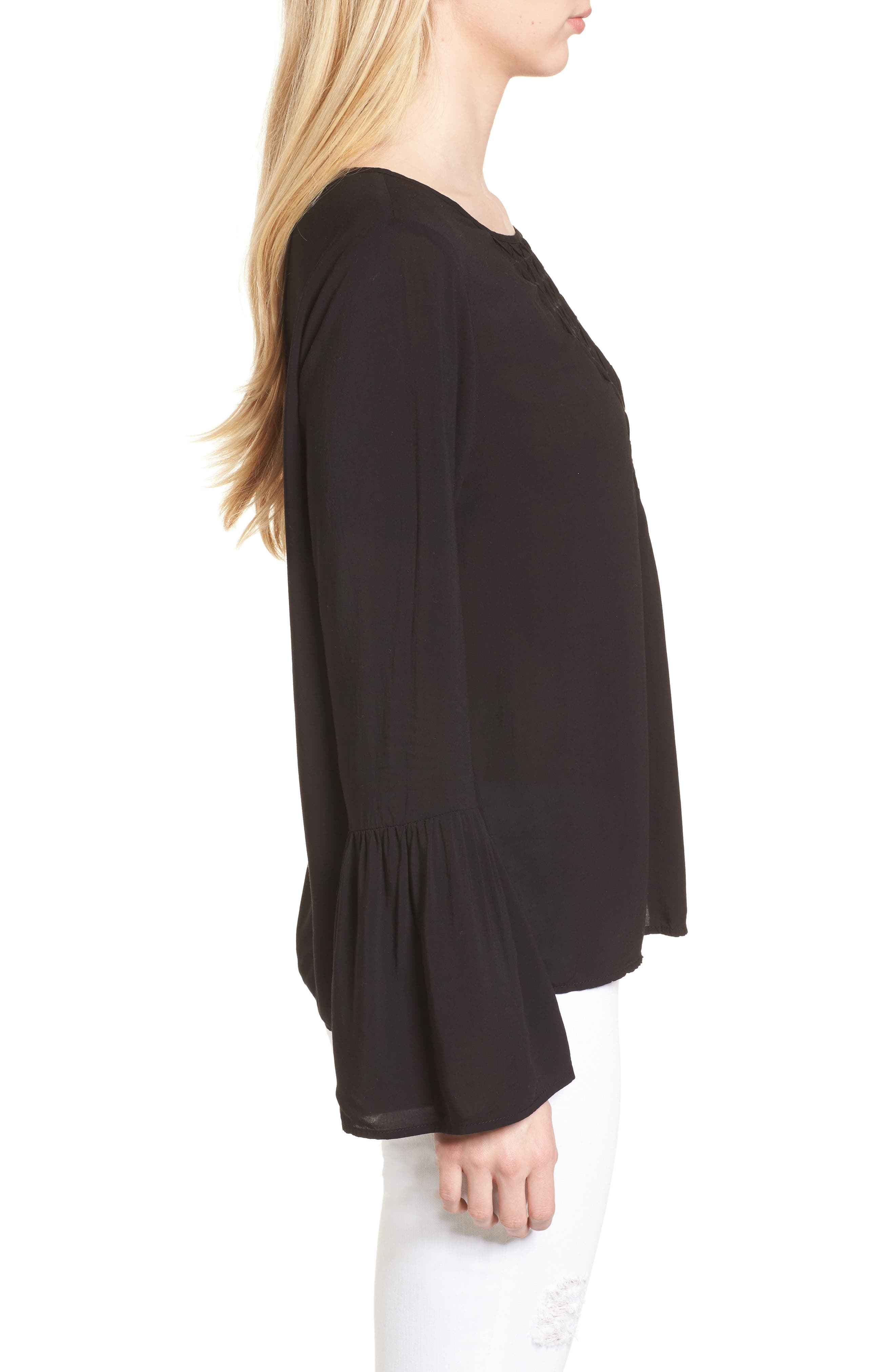 Bell Cuff Blouse,                             Alternate thumbnail 3, color,                             BLACK