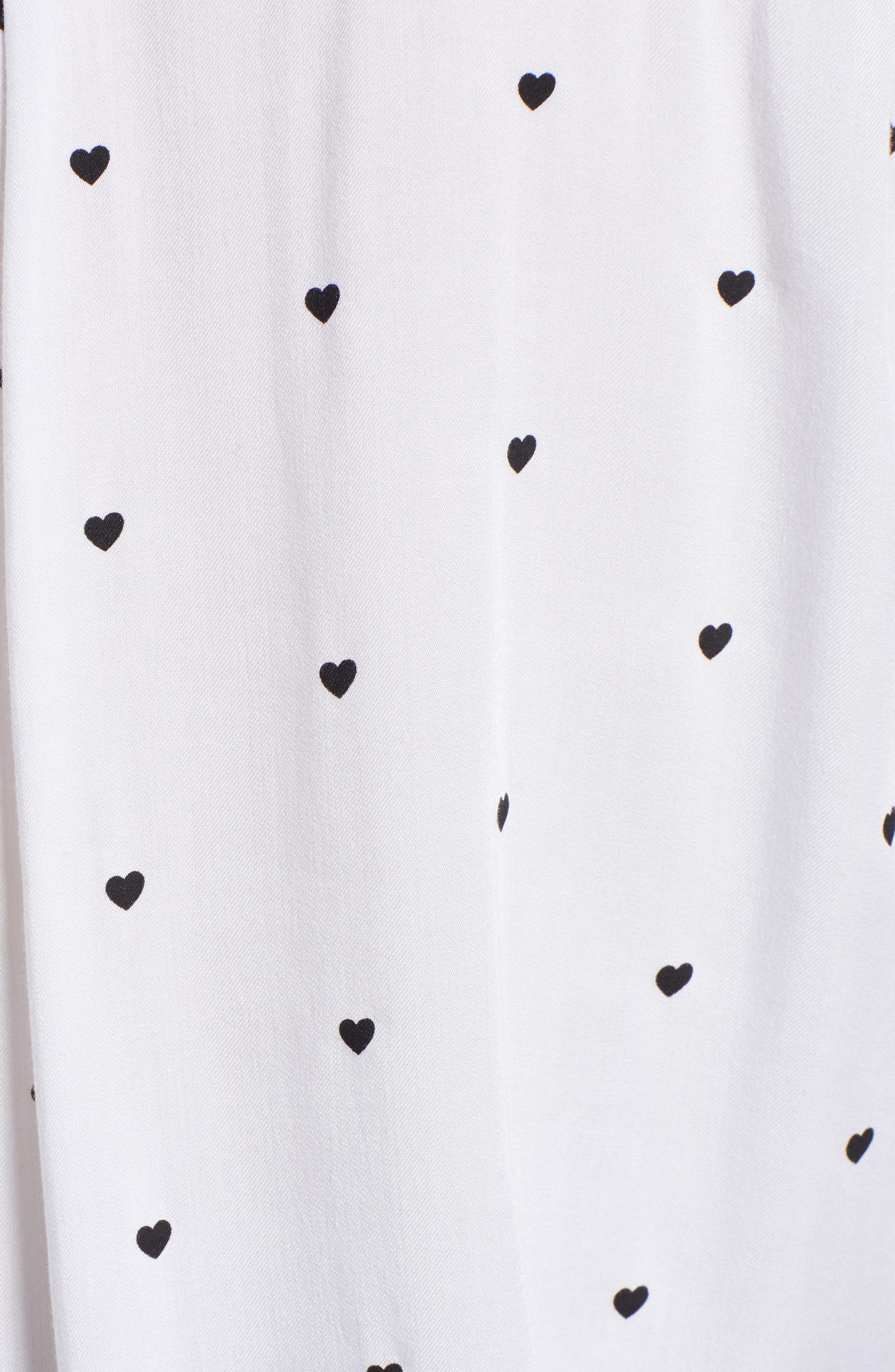 Rocsi Heart Print Shirt,                             Alternate thumbnail 5, color,                             100