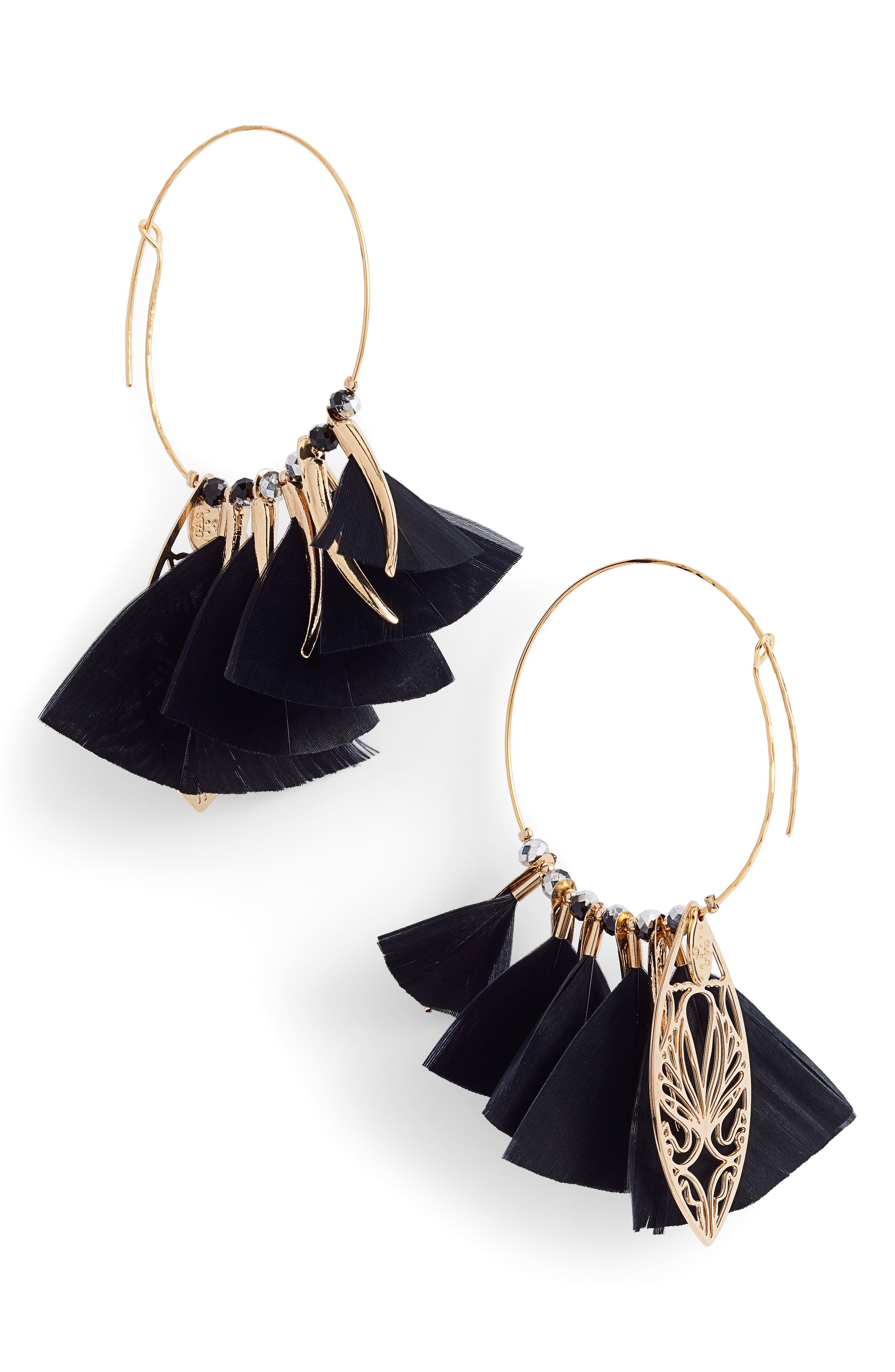 Marly Feather Drop Earrings,                         Main,                         color, BLACK/ TIGE