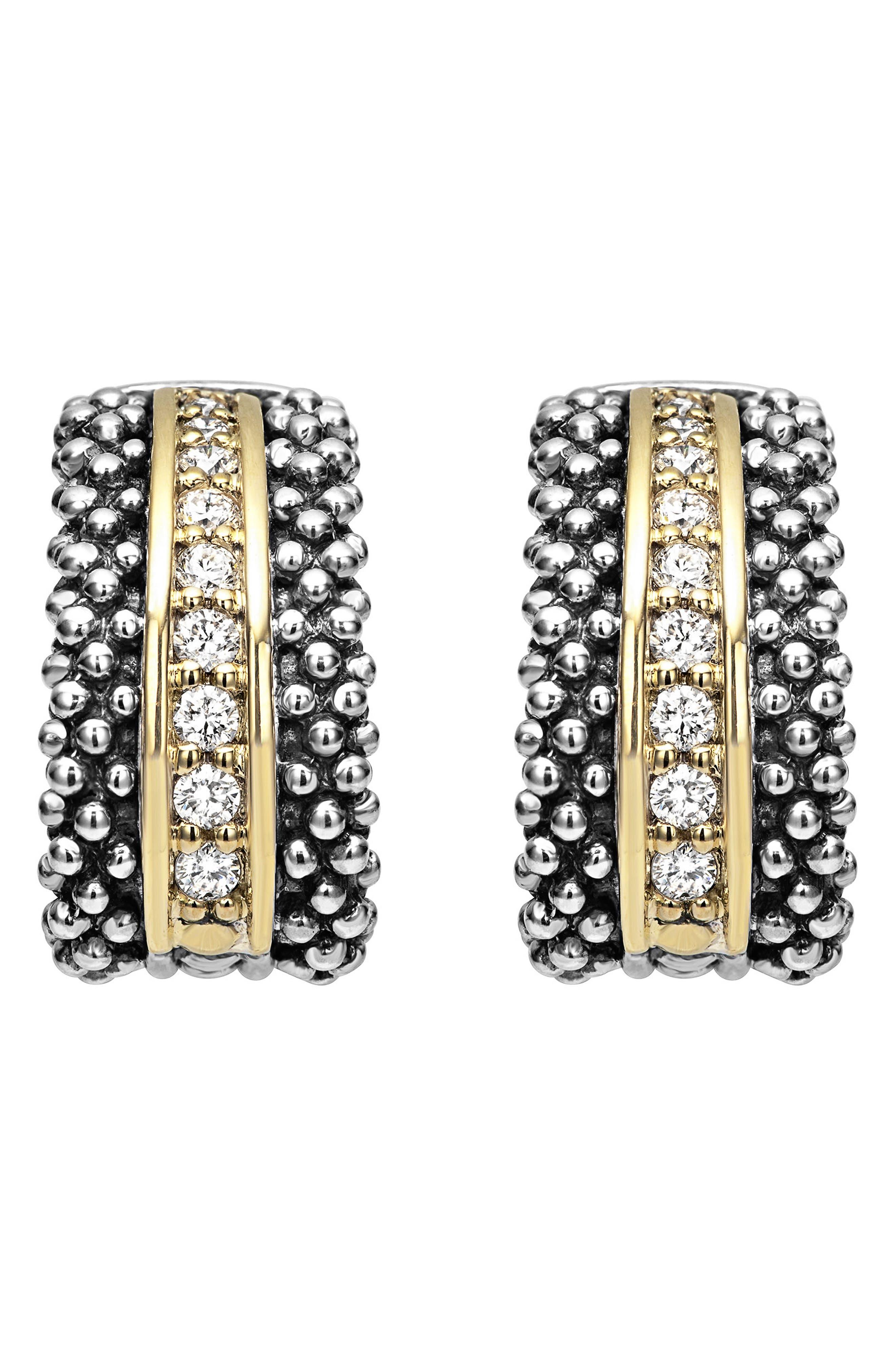 'Caviar' Diamond Hoop Earrings,                             Alternate thumbnail 3, color,                             SILVER/ GOLD