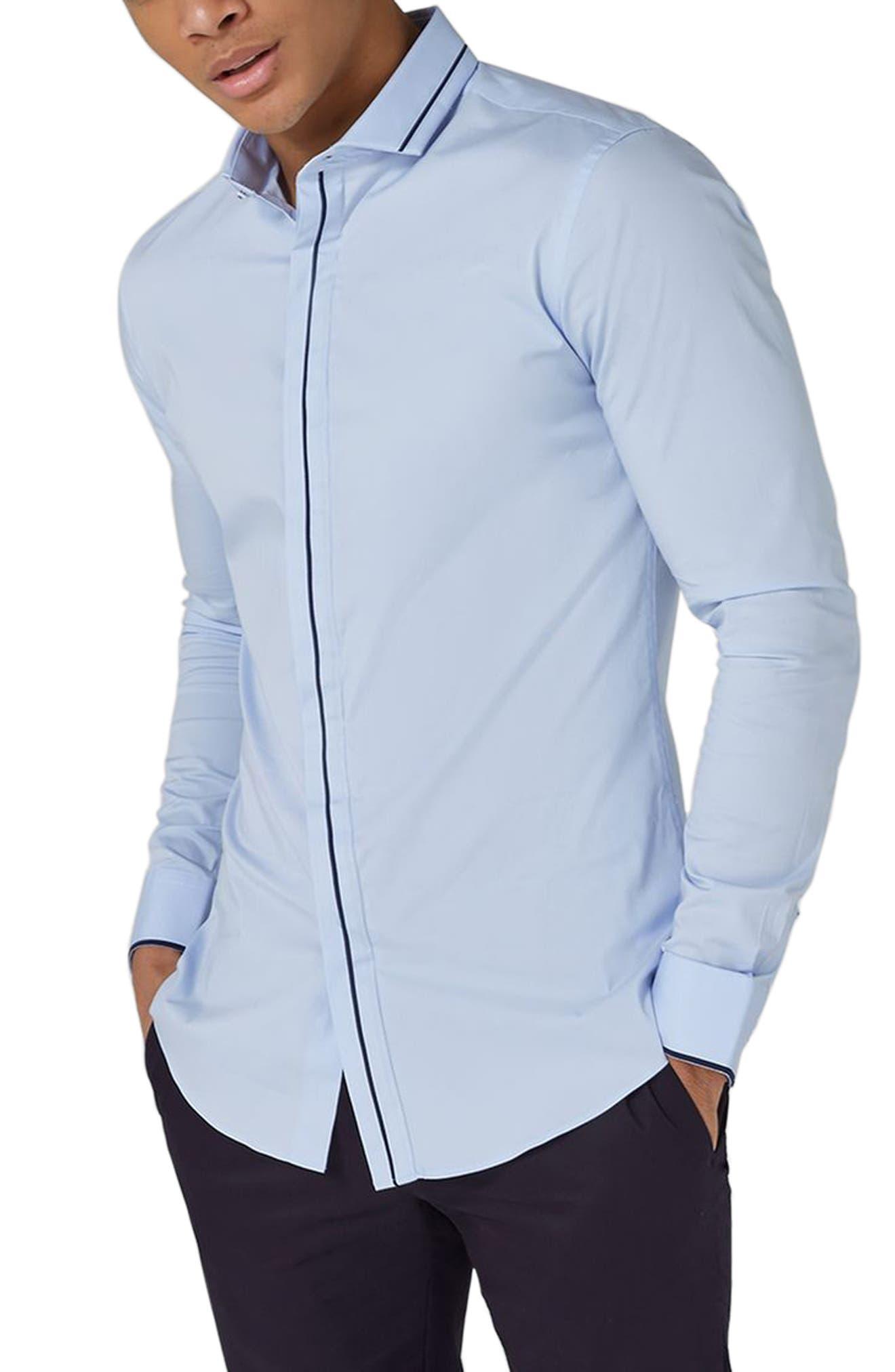 TOPMAN Classic Fit Stripe Smart Shirt, Main, color, 450