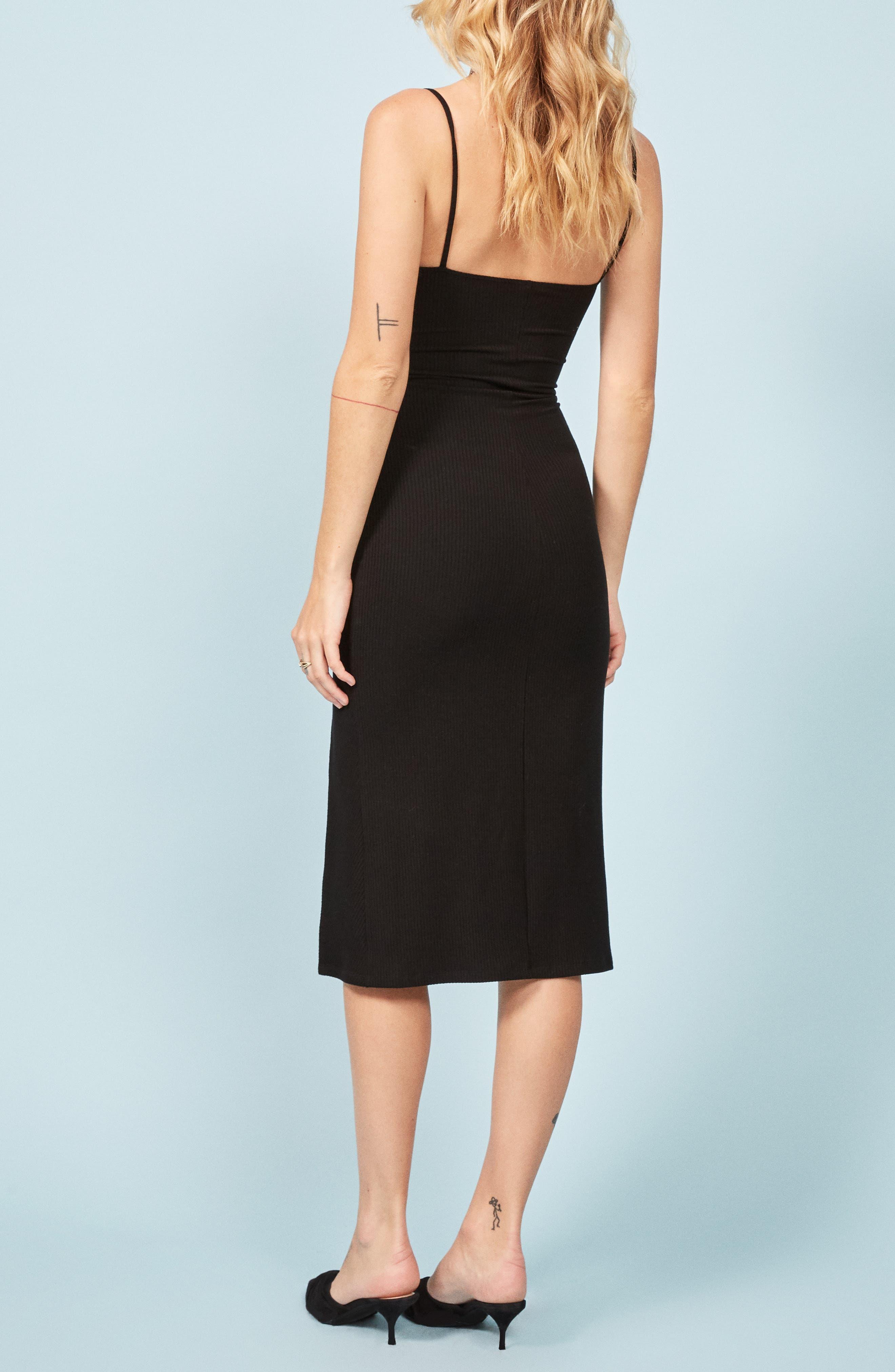 Scala Ribbed Body-Con Midi Dress,                             Alternate thumbnail 3, color,                             BLACK