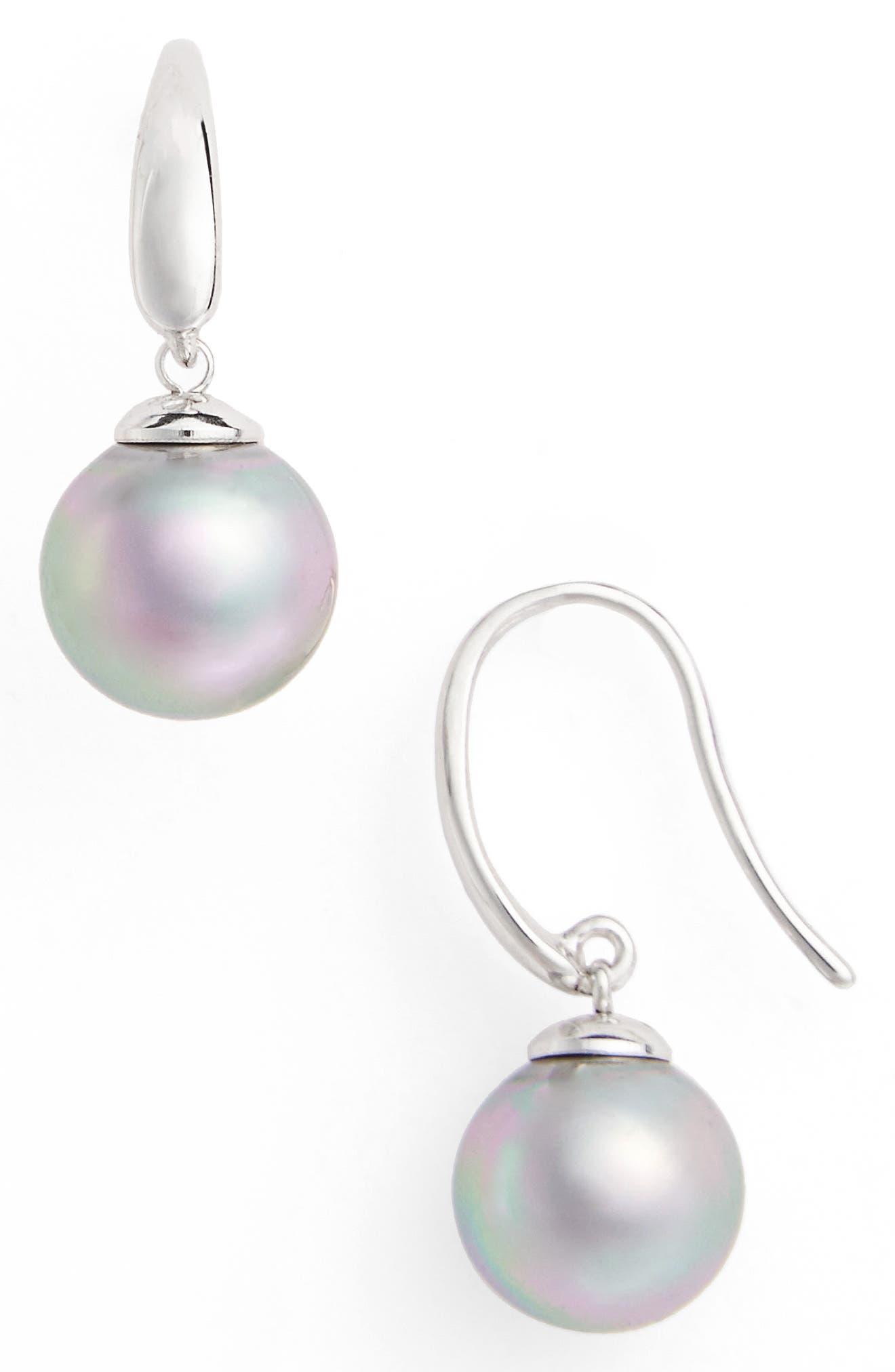 MAJORICA 10mm Simulated Pearl Drop Earrings, Main, color, GREY/ SILVER