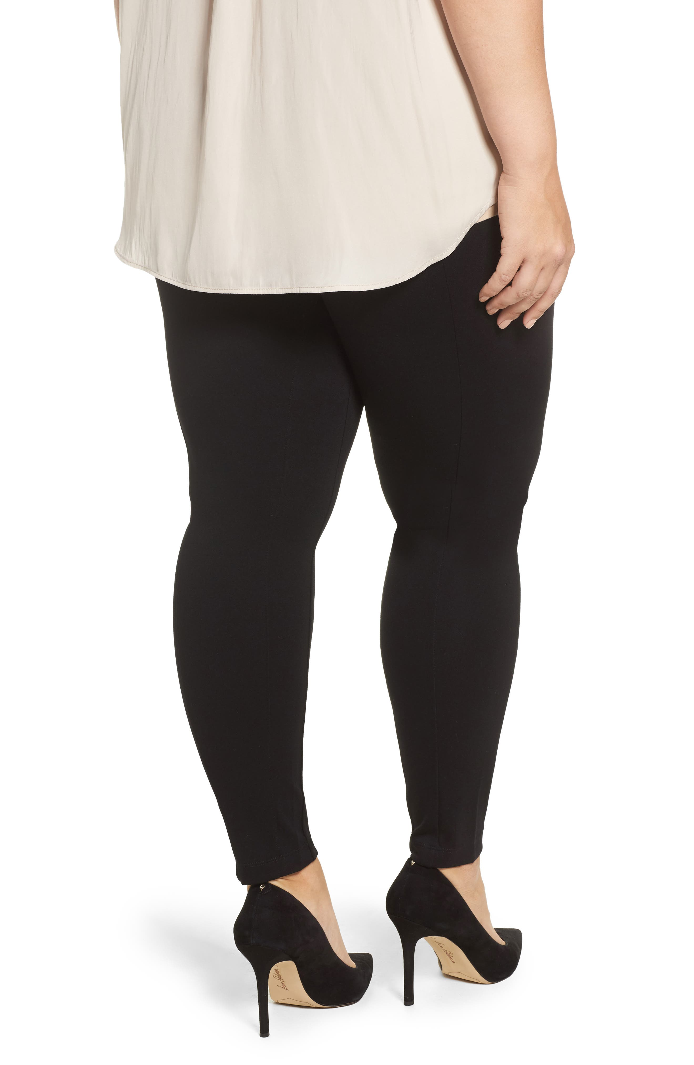 Mara Seamed Ponte Leggings,                             Alternate thumbnail 2, color,                             001
